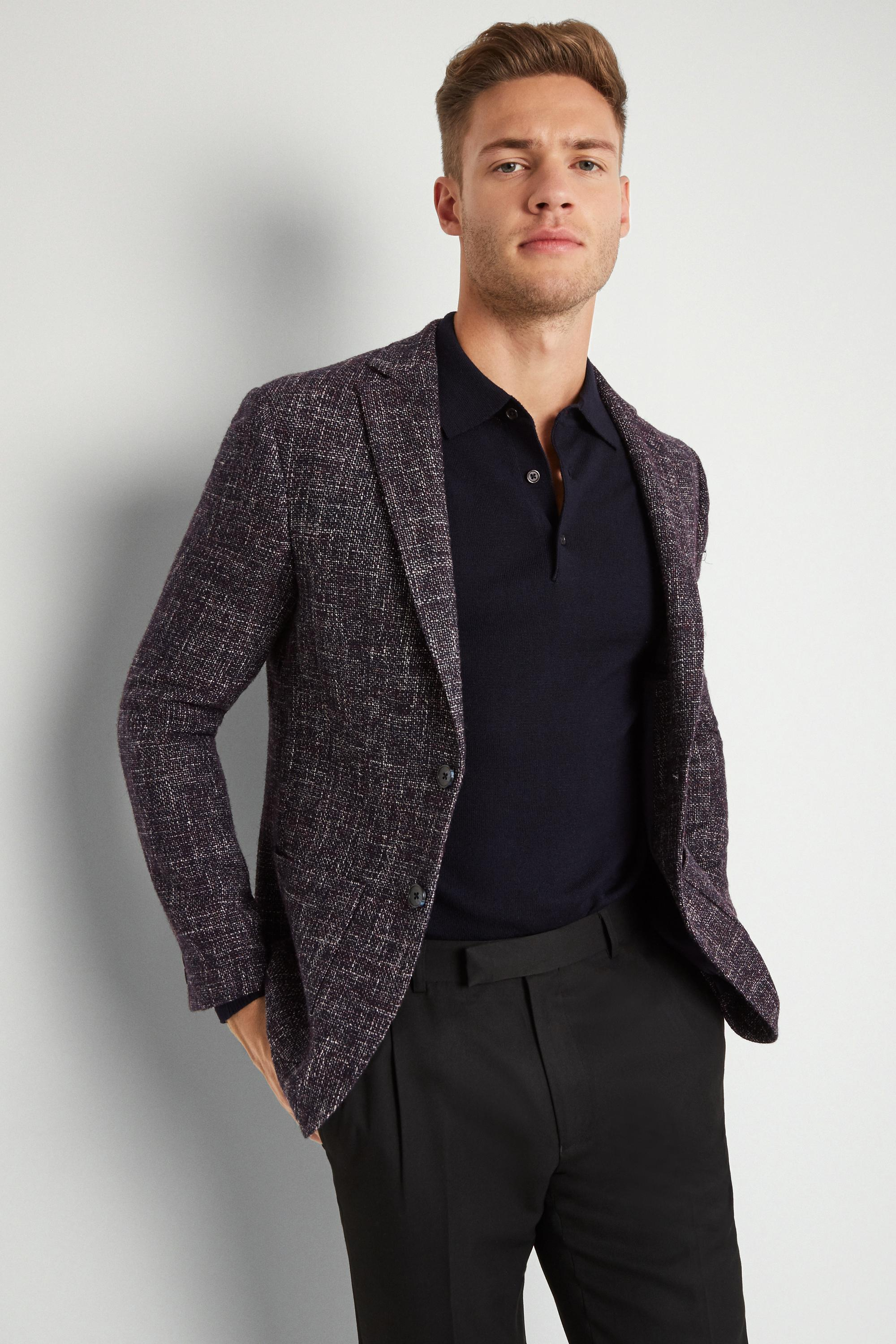 ff5e2284ec442d Lyst - Moss London Skinny Fit Midnight Speckled Jacket in Blue for Men