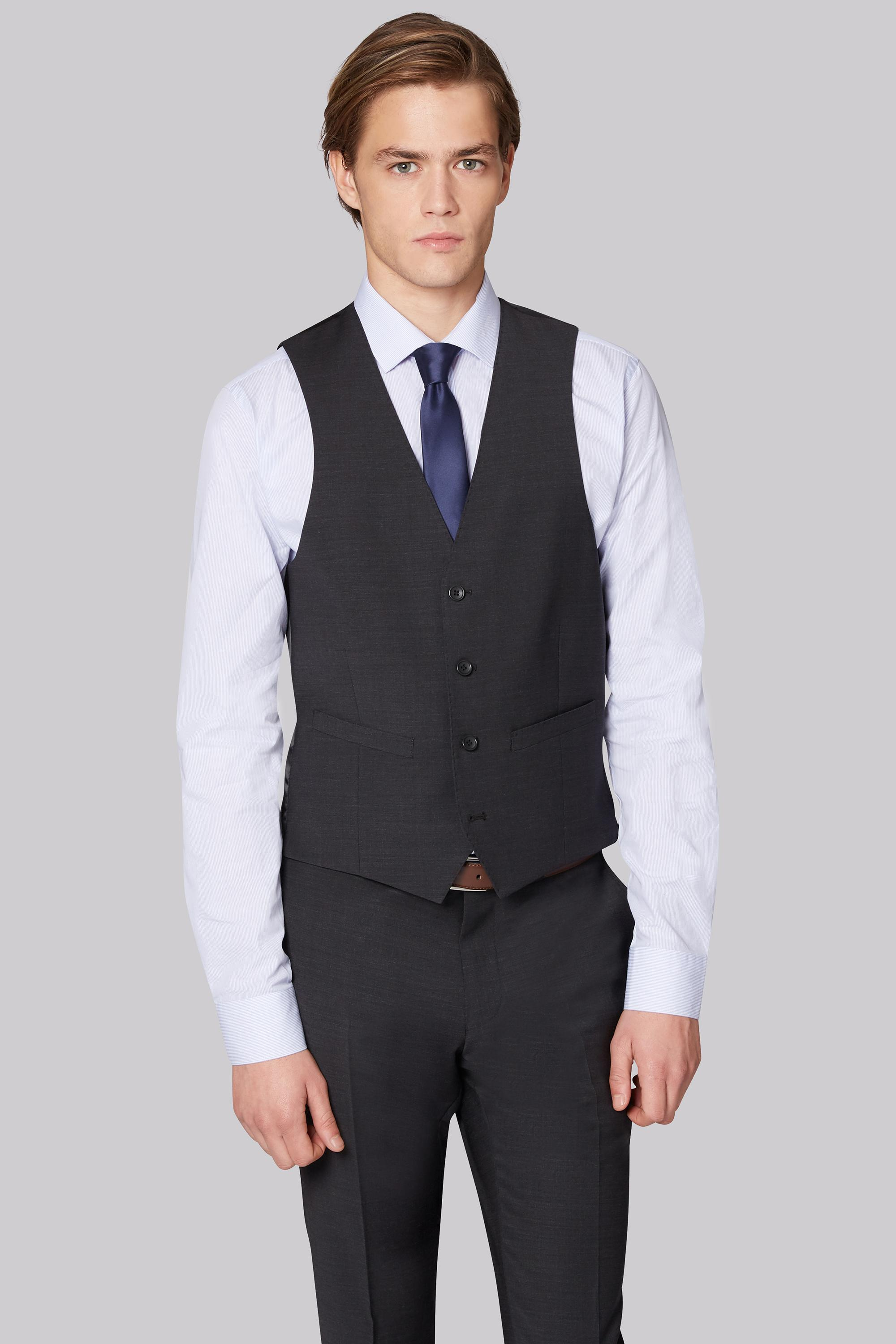 00d4f185171 Moss London Performance Skinny Fit Charcoal Waistcoat in Gray for ...