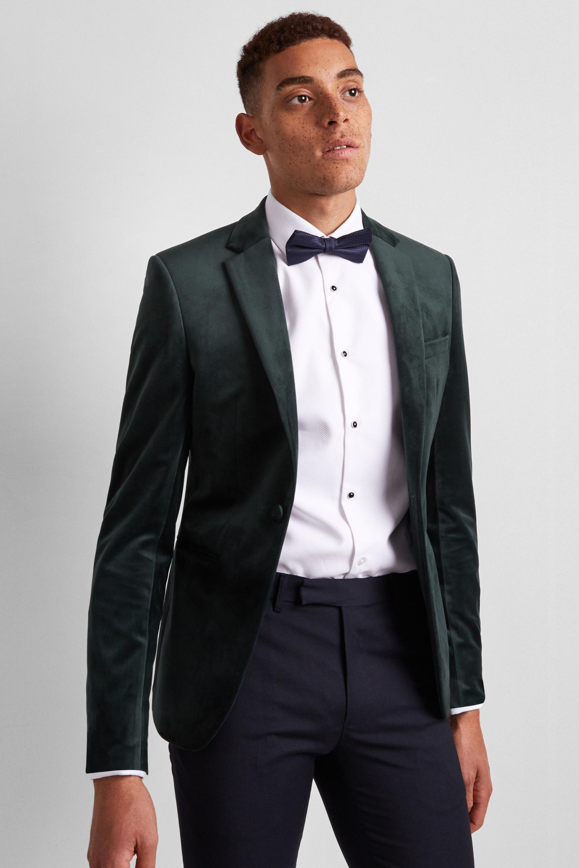 a6af3eaf87bc Lyst - Moss London Skinny Fit Bottle Green Velvet Dress Jacket in ...