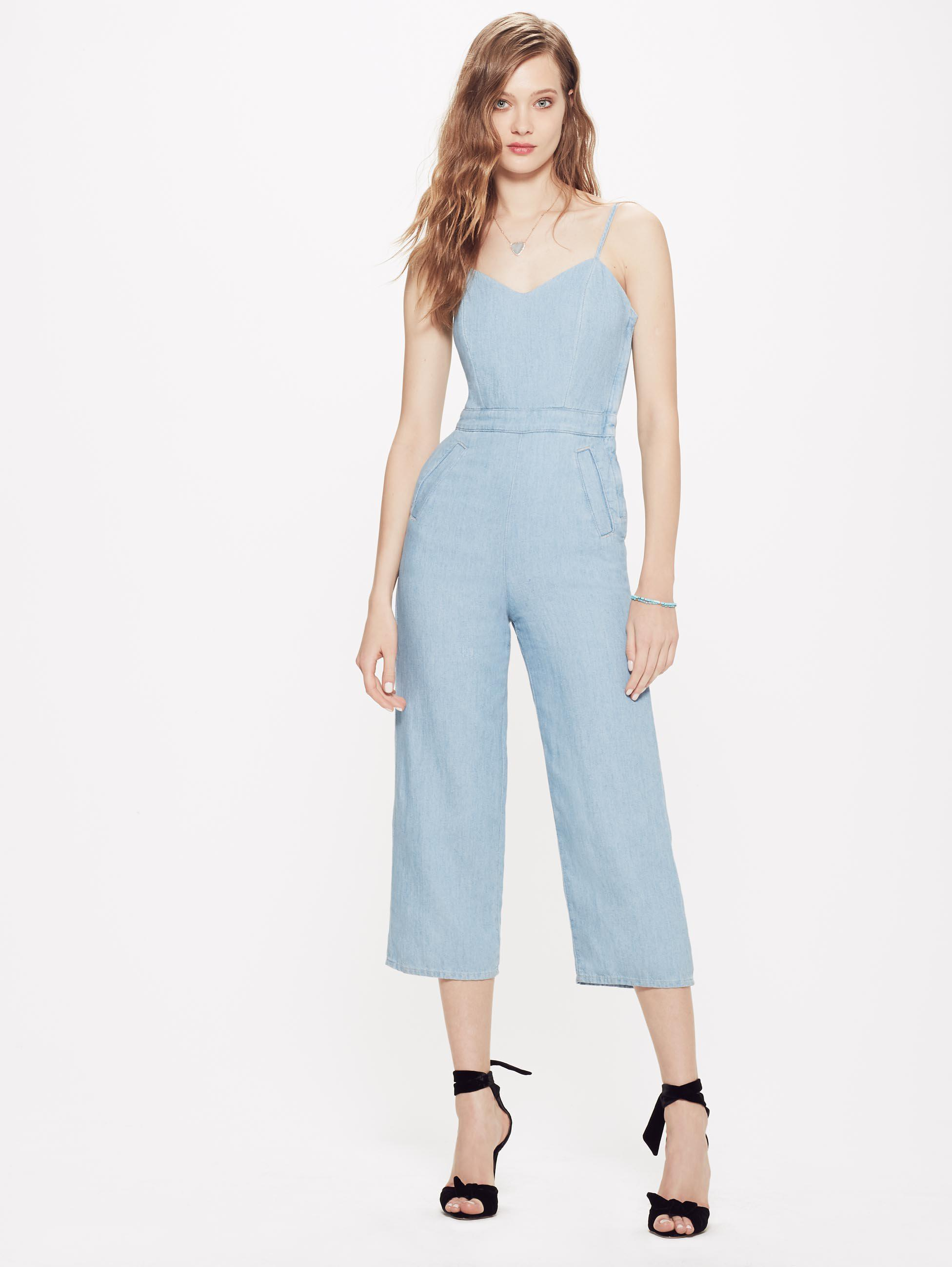 deft design sells 60% cheap Mother Cotton The Cut It Out Jumpsuit Songbird in Blue - Lyst