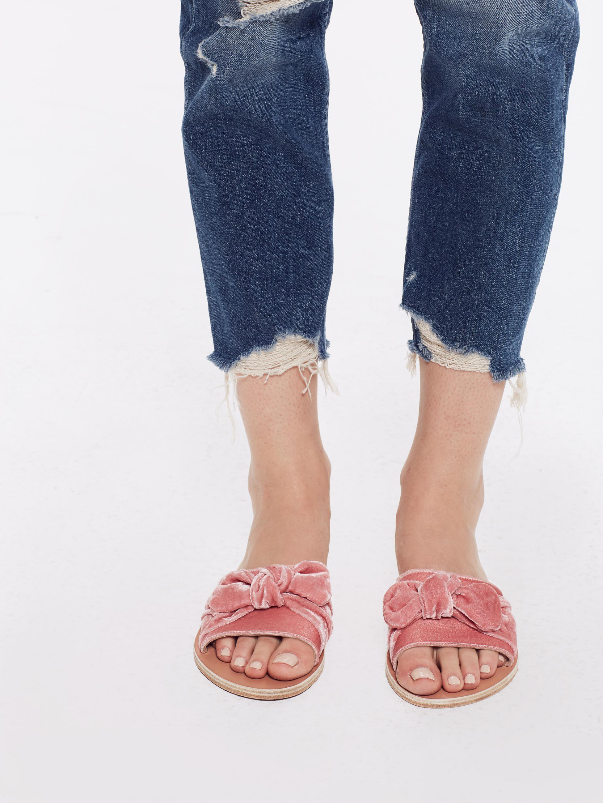 41516aef35e0 Lyst - Ancient Greek Sandals Taygete Bow Velvet Dusty Pink in Pink