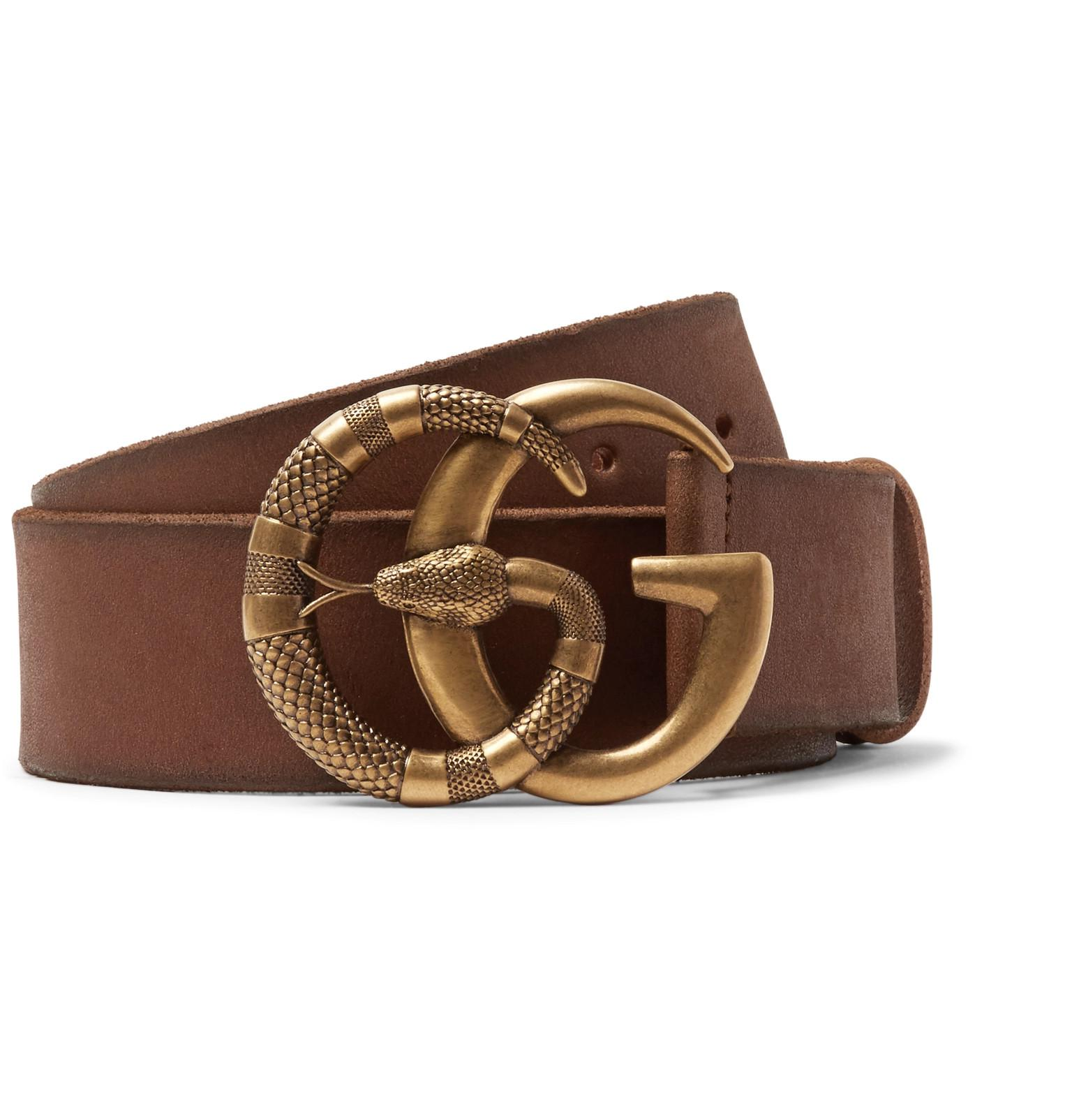 7e9dd7ad300 Gucci 4cm Tan Burnished-leather Belt in Brown for Men - Lyst