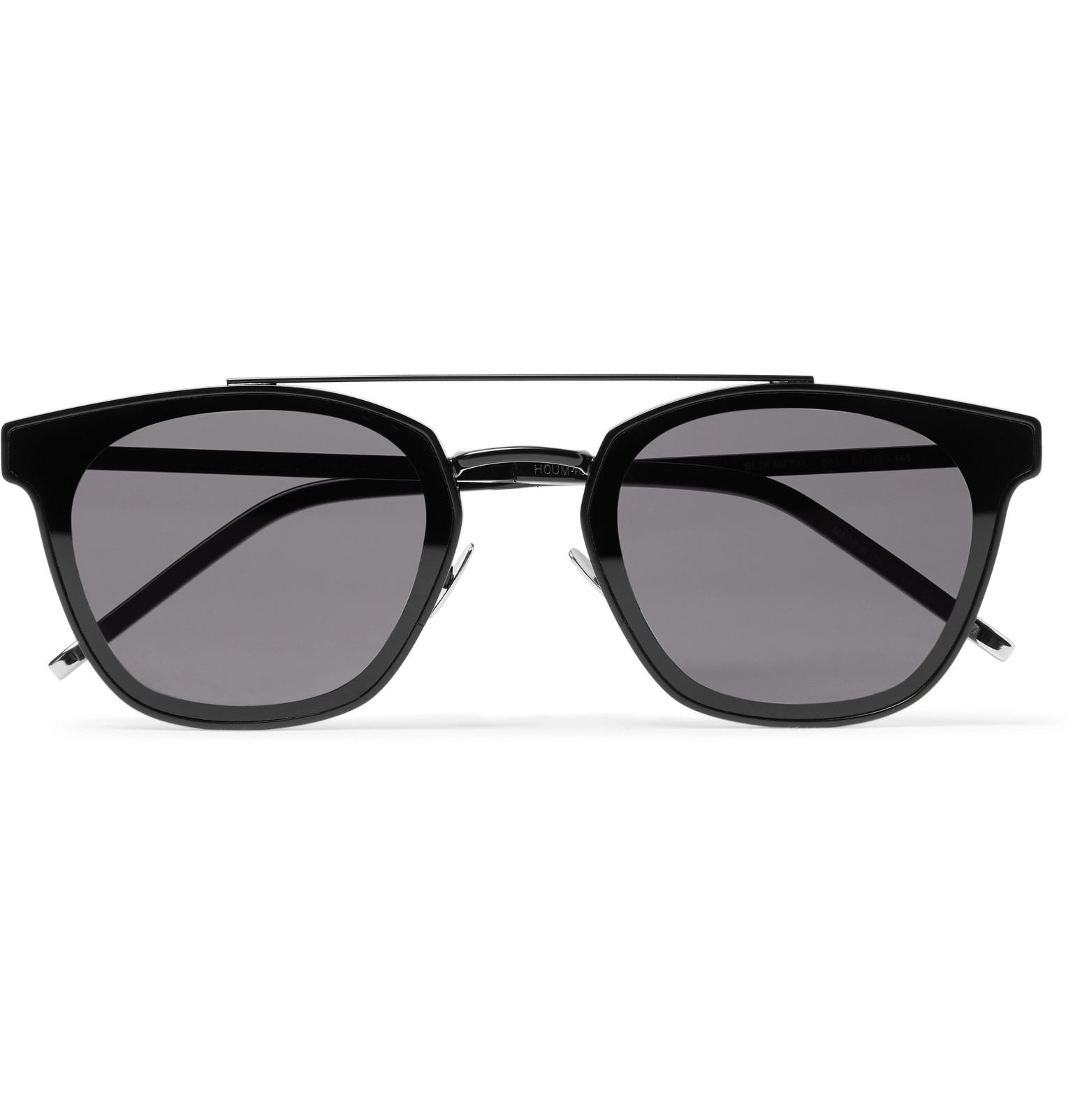 10de787cd1 Lyst - Saint Laurent Aviator-style Metal Sunglasses in Black for Men