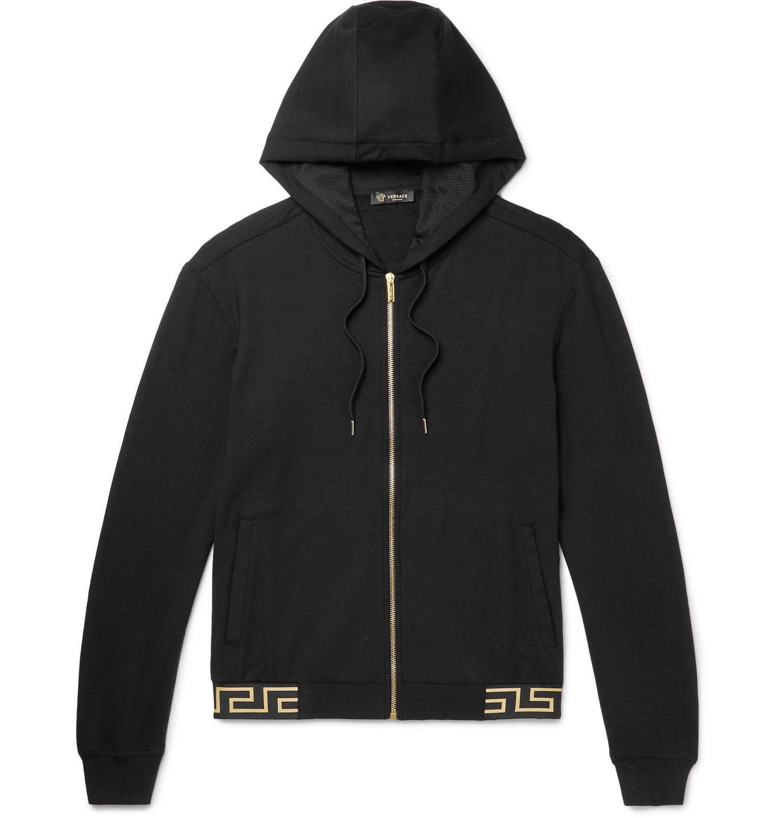 2f58cb4e875e Lyst - Versace Logo-jacquard Stretch-modal Zip-up Hoodie in Black ...