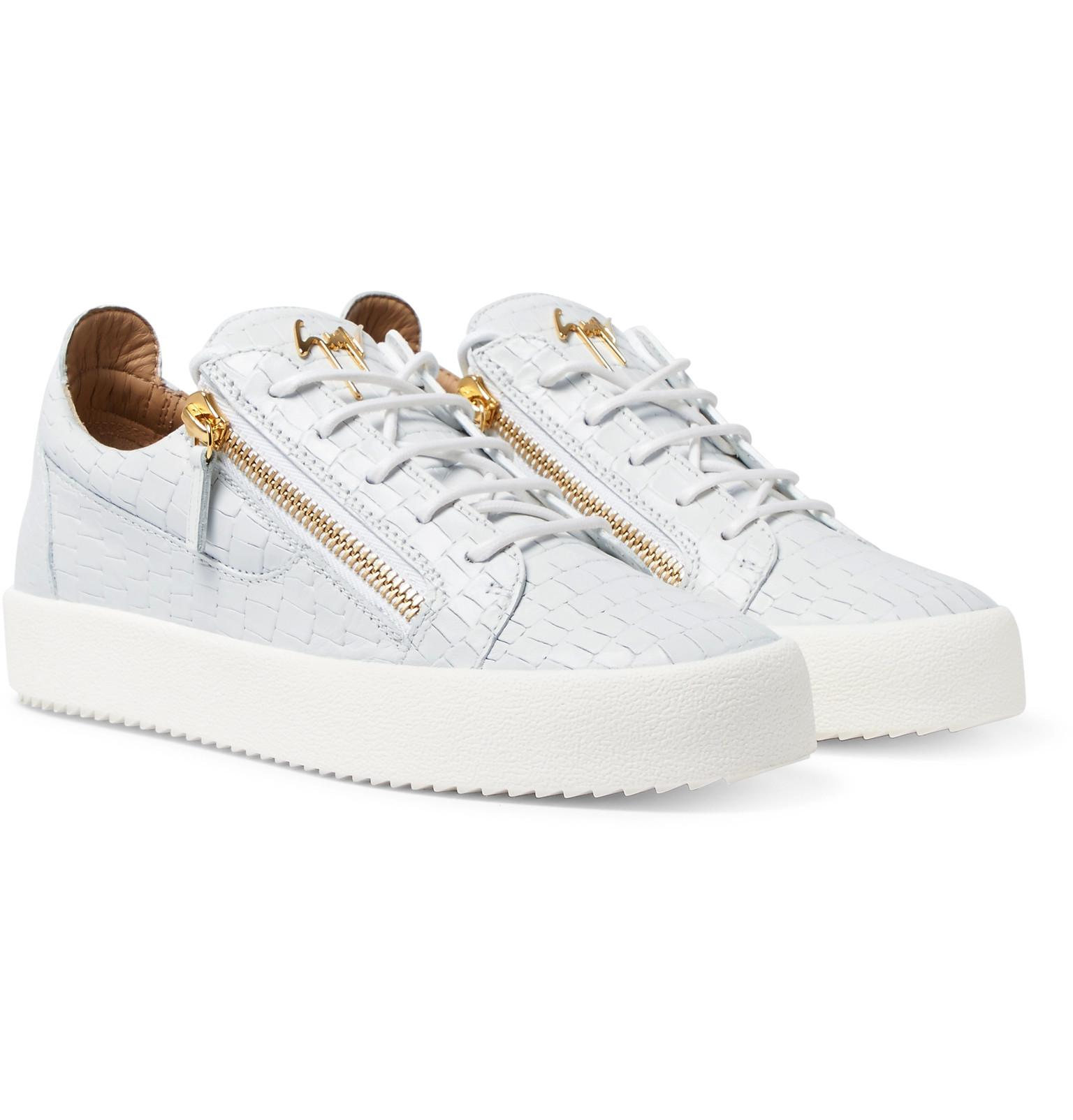 fd6894144b5 Giuseppe Zanotti Logoball Croc-effect Leather Sneakers in Gray for ...