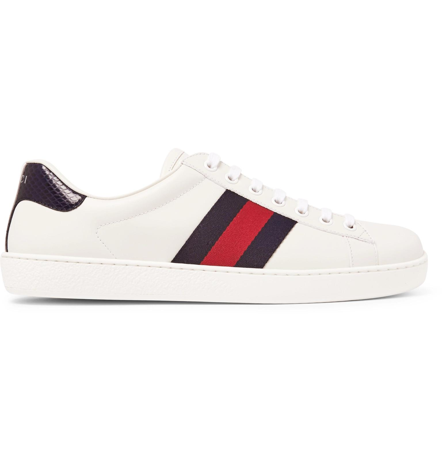 51ad1822de3 Gucci - White Ace Watersnake-trimmed Leather Sneakers for Men - Lyst. View  fullscreen