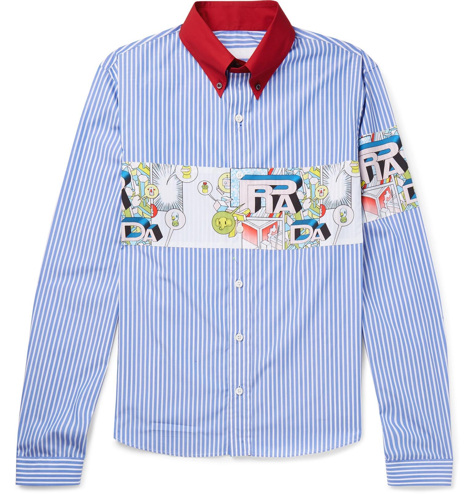 Striped Cotton-poplin Shirt - Blue Prada For Nice Online RNC5Sz