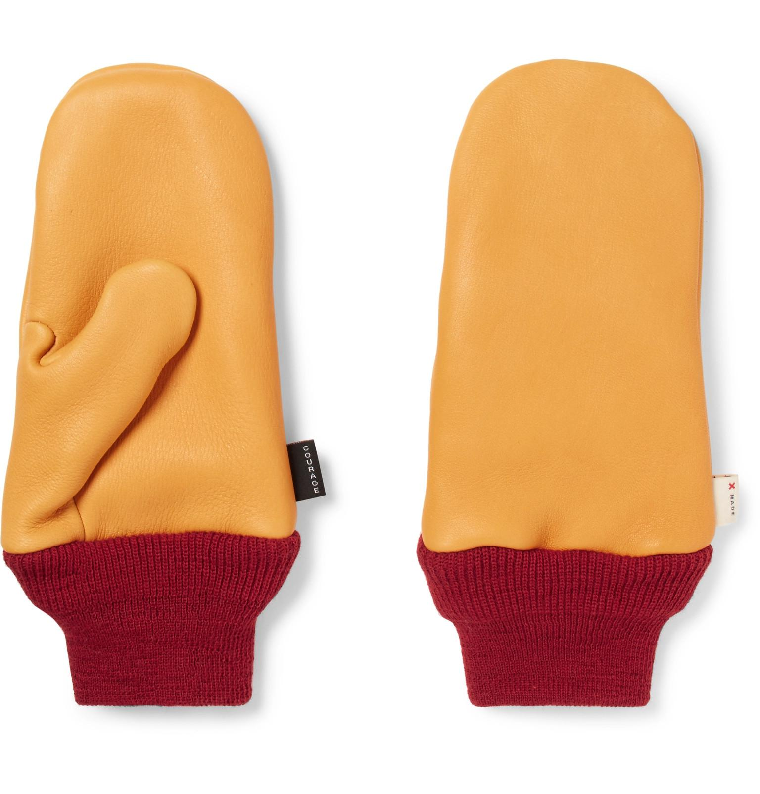 a74dbf7a Best Made Company Wool-trimmed Leather Chopper Mittens in Yellow for ...