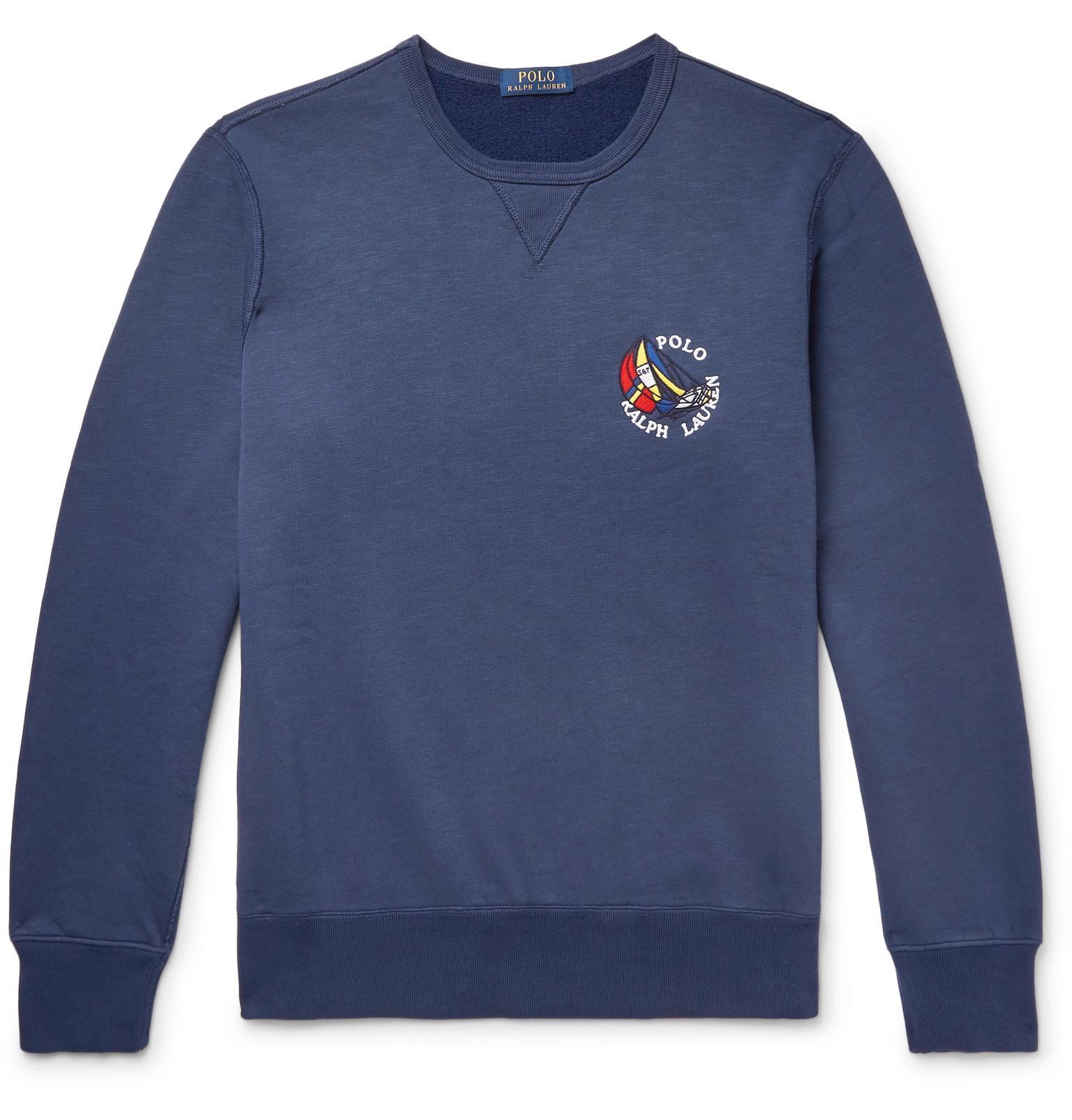 Polo Ralph Lauren Appliquéd Fleece-back Cotton-blend Jersey ... ec4fa20c2f6