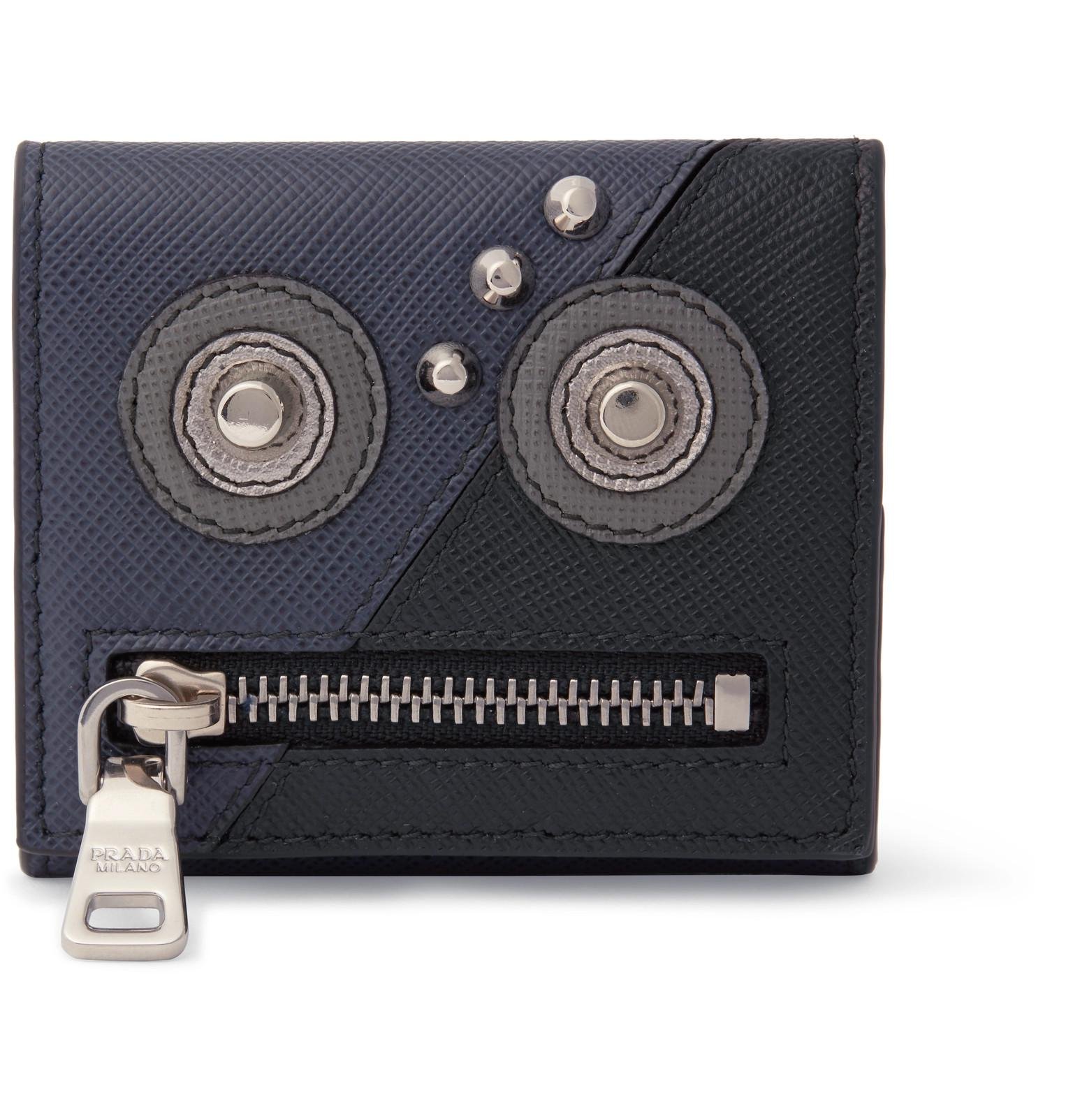 cca860cf628c Prada Robot Saffiano Leather Coin Case in Black for Men - Lyst