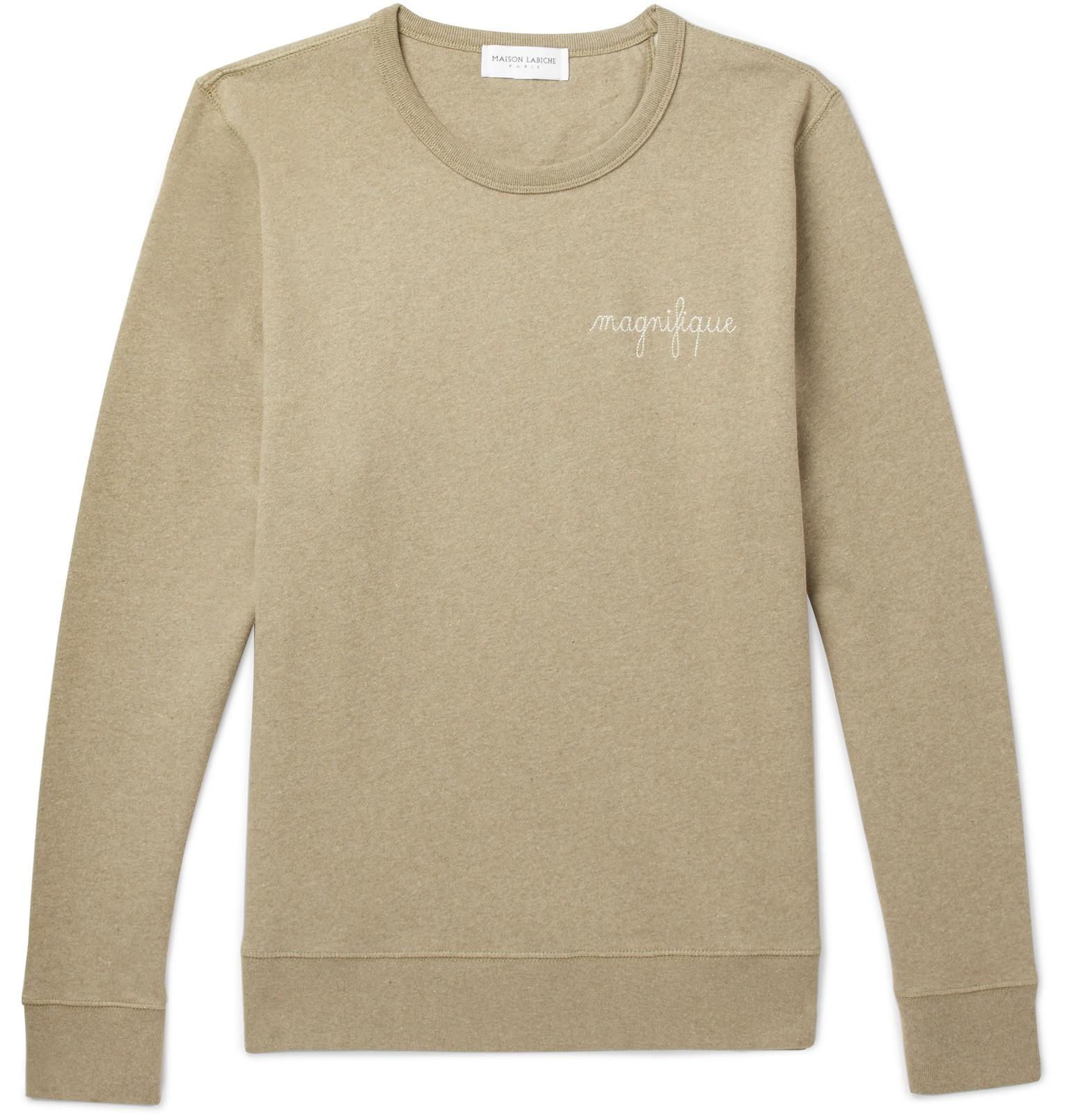 Maison Labiche Embroidered Fleece-back Cotton-jersey Sweatshirt - Green 9WG6PwvB