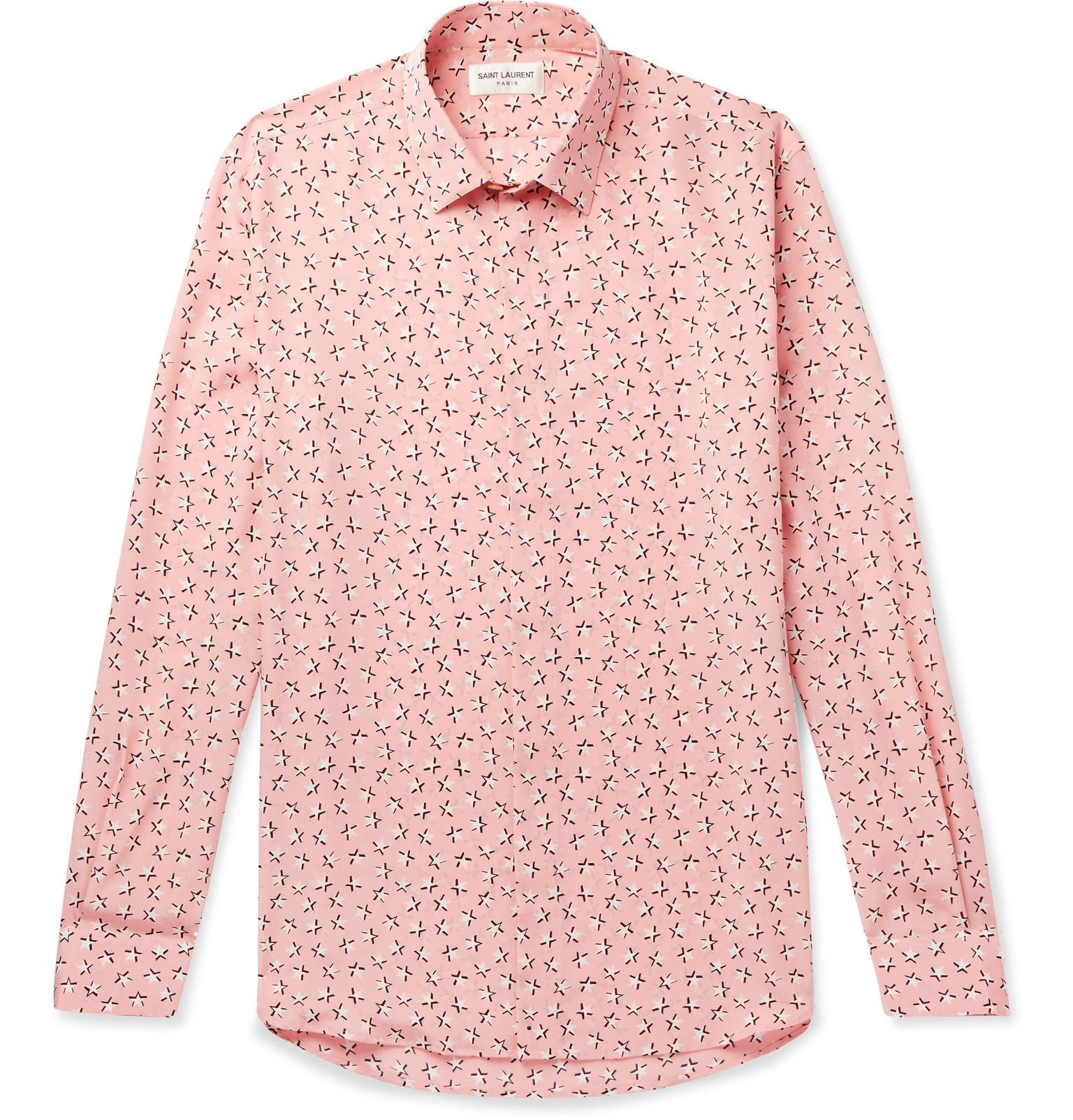 357ac91eb3c Saint Laurent Slim-fit Printed Silk Crepe De Chine Shirt in Pink for ...