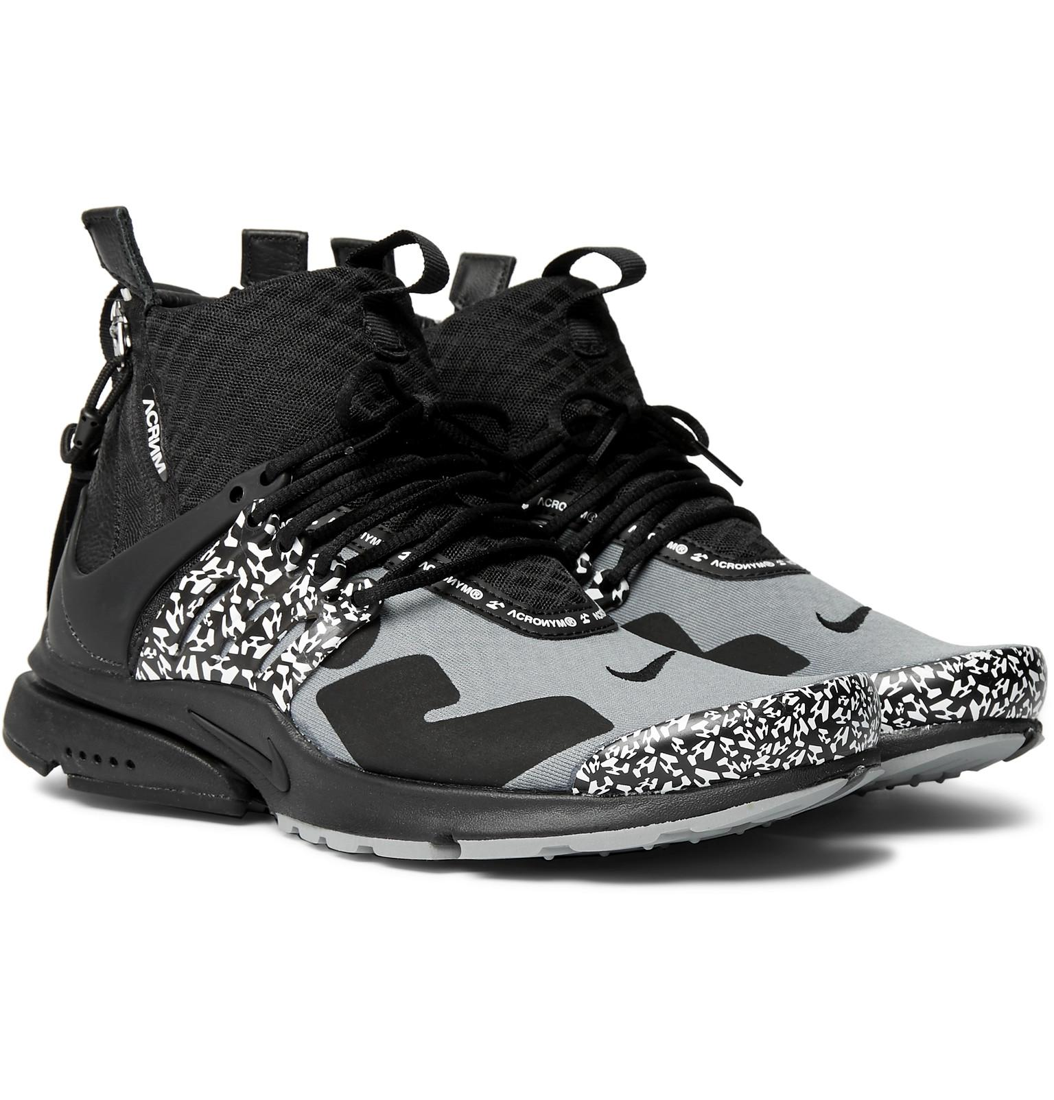 df9737cae15e Lyst - Nike + Acronym Air Presto Mid Leather And Rubber-trimmed Mesh ...