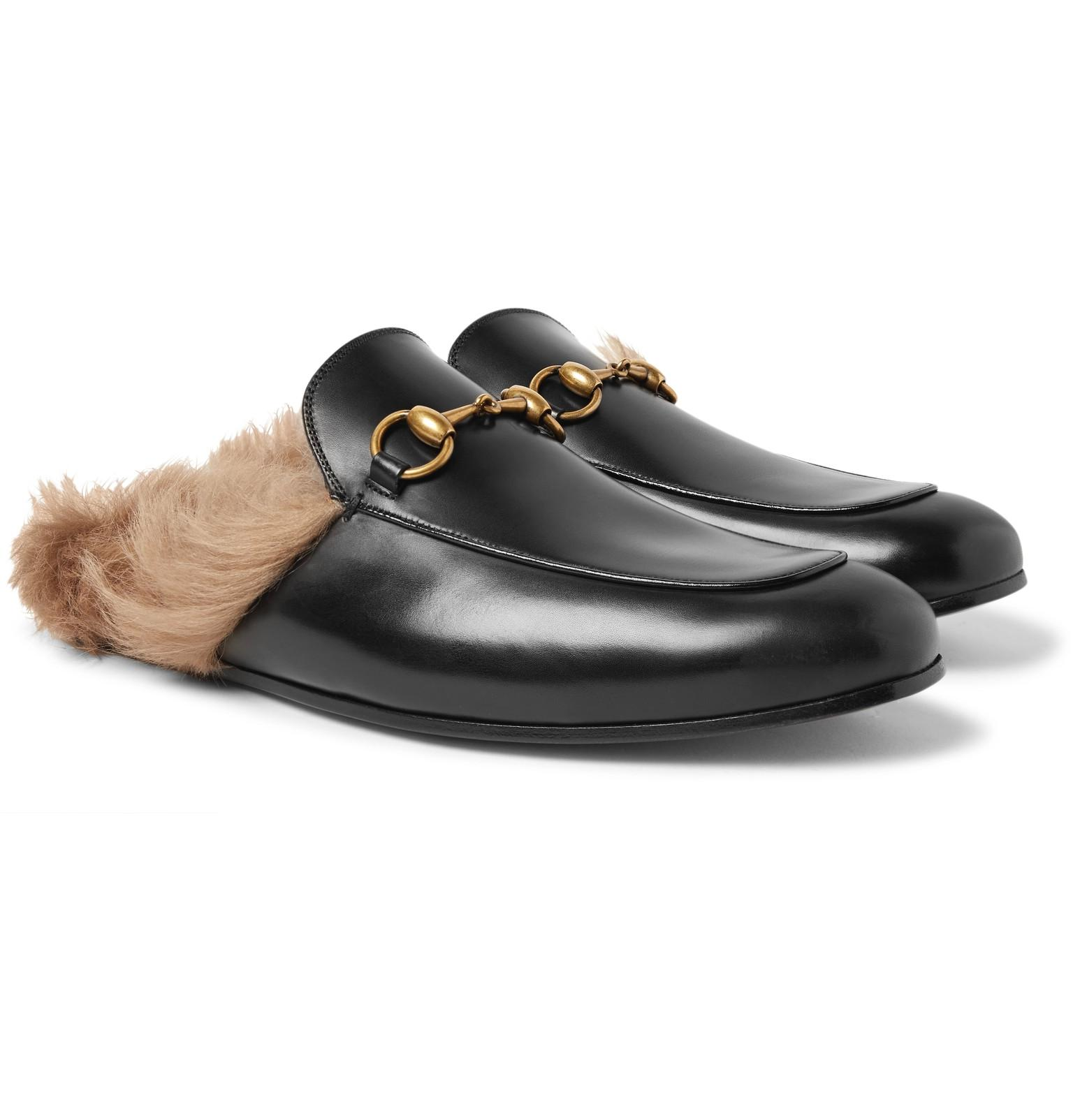 0ef104a7d Gucci. Men's Black Princetown Horsebit Shearling-lined Leather Backless  Loafers