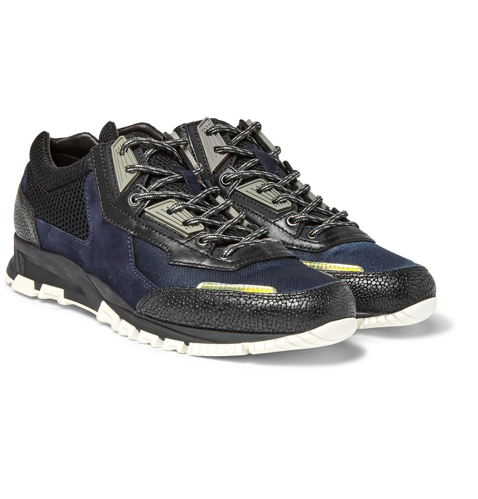 Sneakers Leather Lanvin Suede Mesh Navy Textured And Rrndqh7yw nwYq5vE5