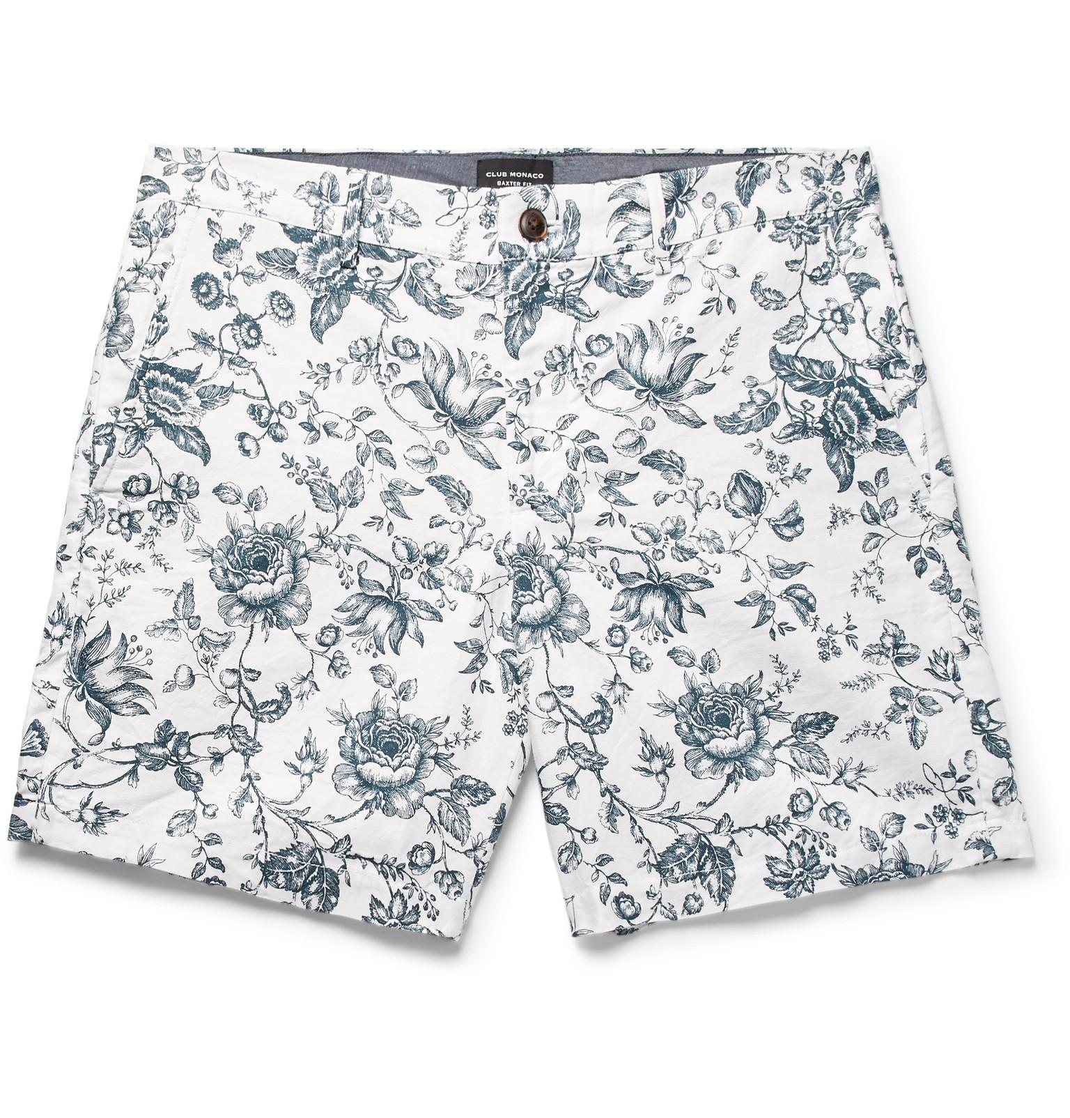 Baxter Slim-fit Printed Linen And Cotton-blend Twill Shorts Club Monaco 7MGOs5mh