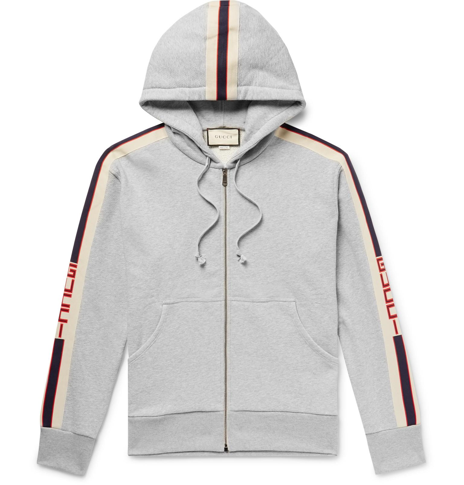 54a7a76a7 Gucci - Gray Logo Webbing-trimmed Loopback Cotton-jersey Zip-up Hoodie for.  View fullscreen