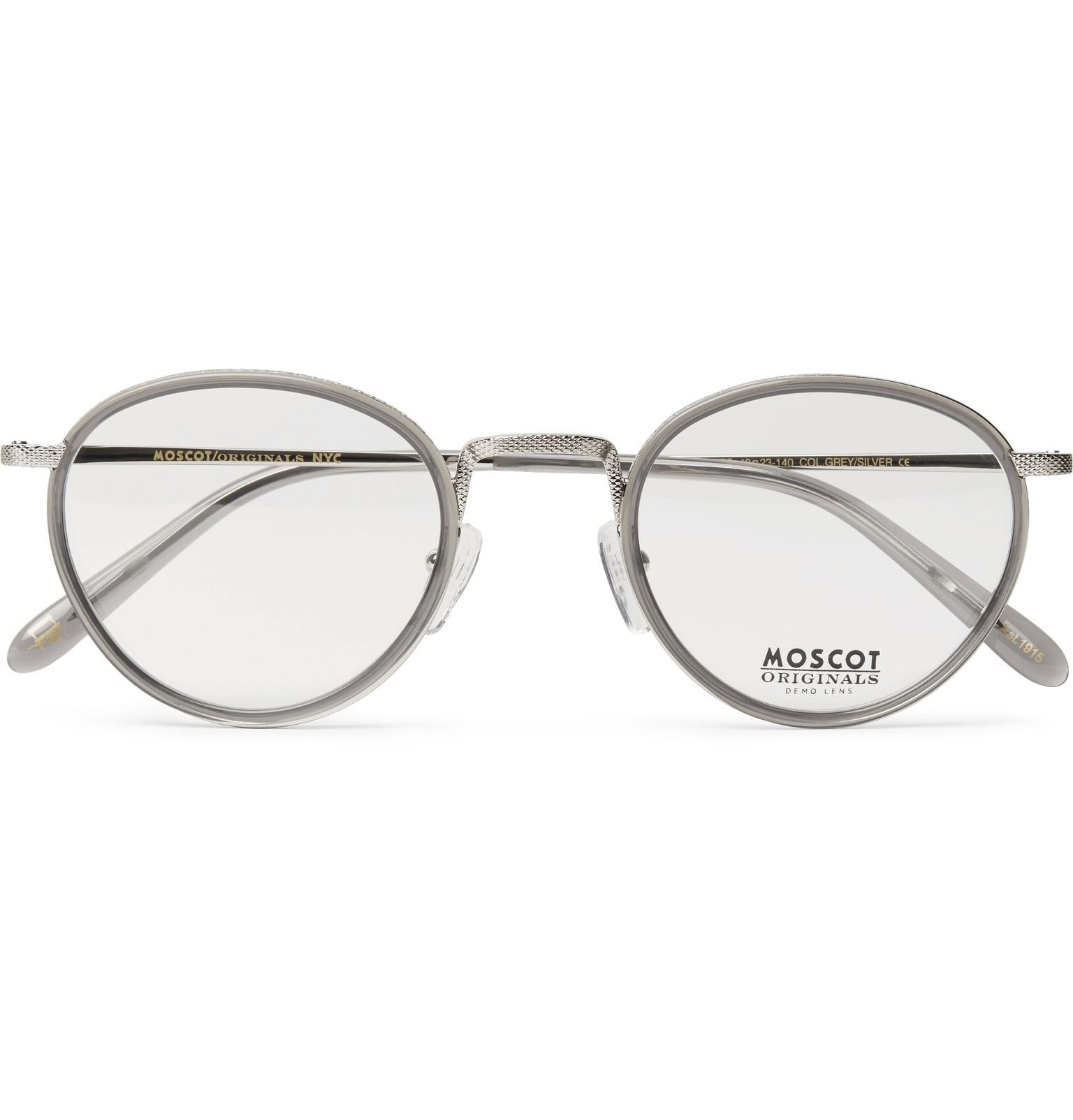 64c2a164865b Lyst - Moscot Bupkes Round-frame Acetate-trimmed Silver-tone Optical ...