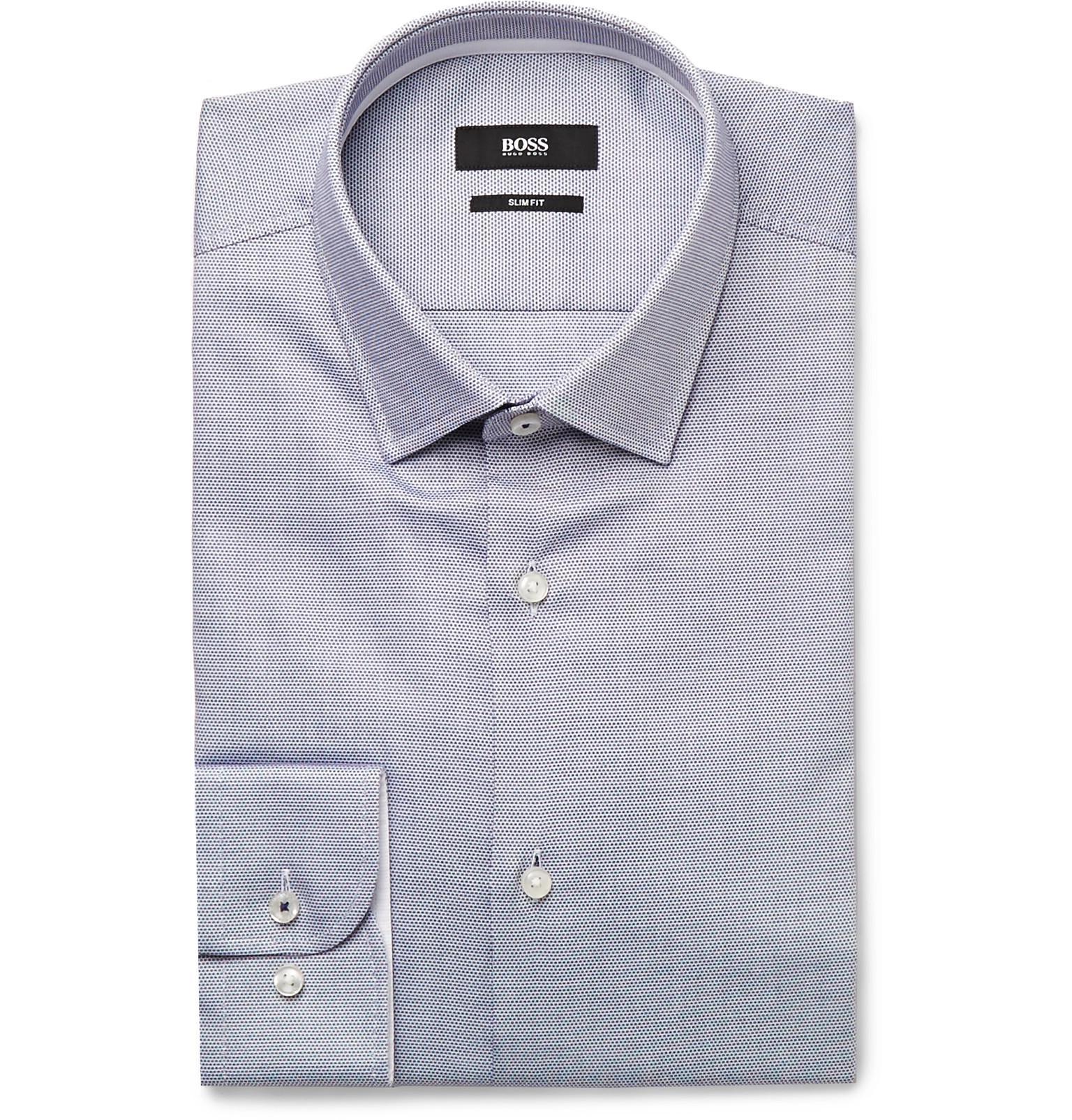 fd26931c6 BOSS - Blue Navy Jesse Slim-fit Polka-dot Cotton-poplin Shirt for. View  fullscreen