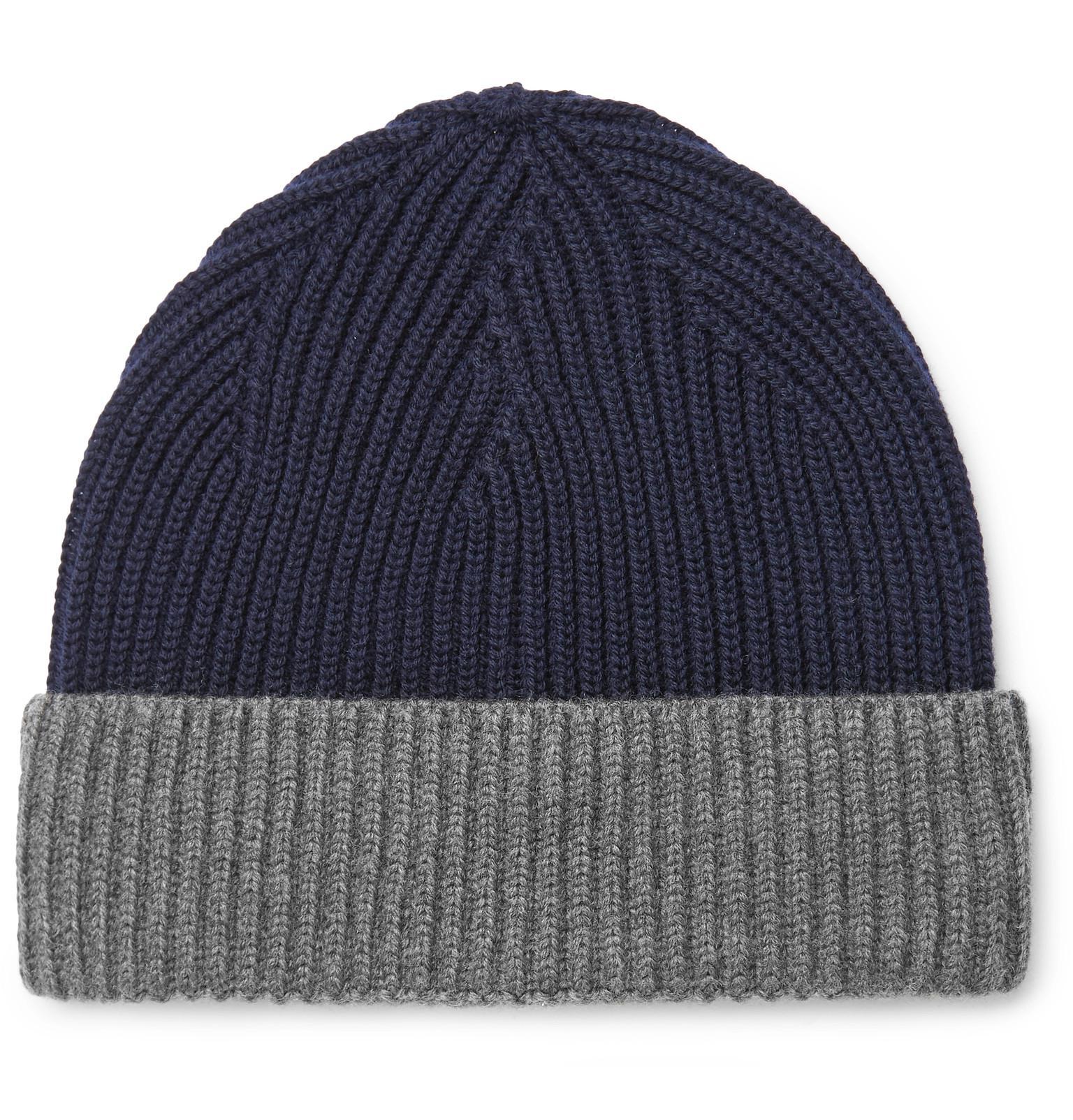 Altea Two-tone Ribbed Virgin Wool Beanie in Blue for Men - Lyst 7dd8edc2edf9