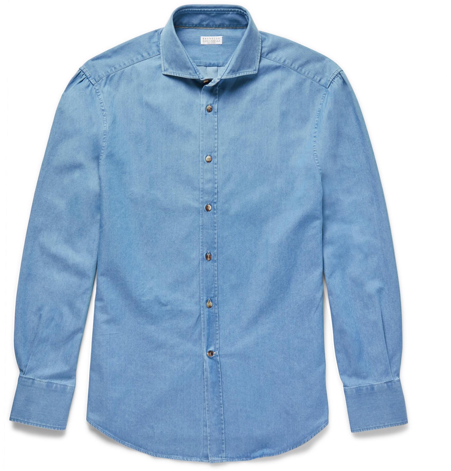 ae8acf6b96 Brunello Cucinelli - Blue Slim-fit Cutaway-collar Washed-denim Shirt for  Men. View fullscreen