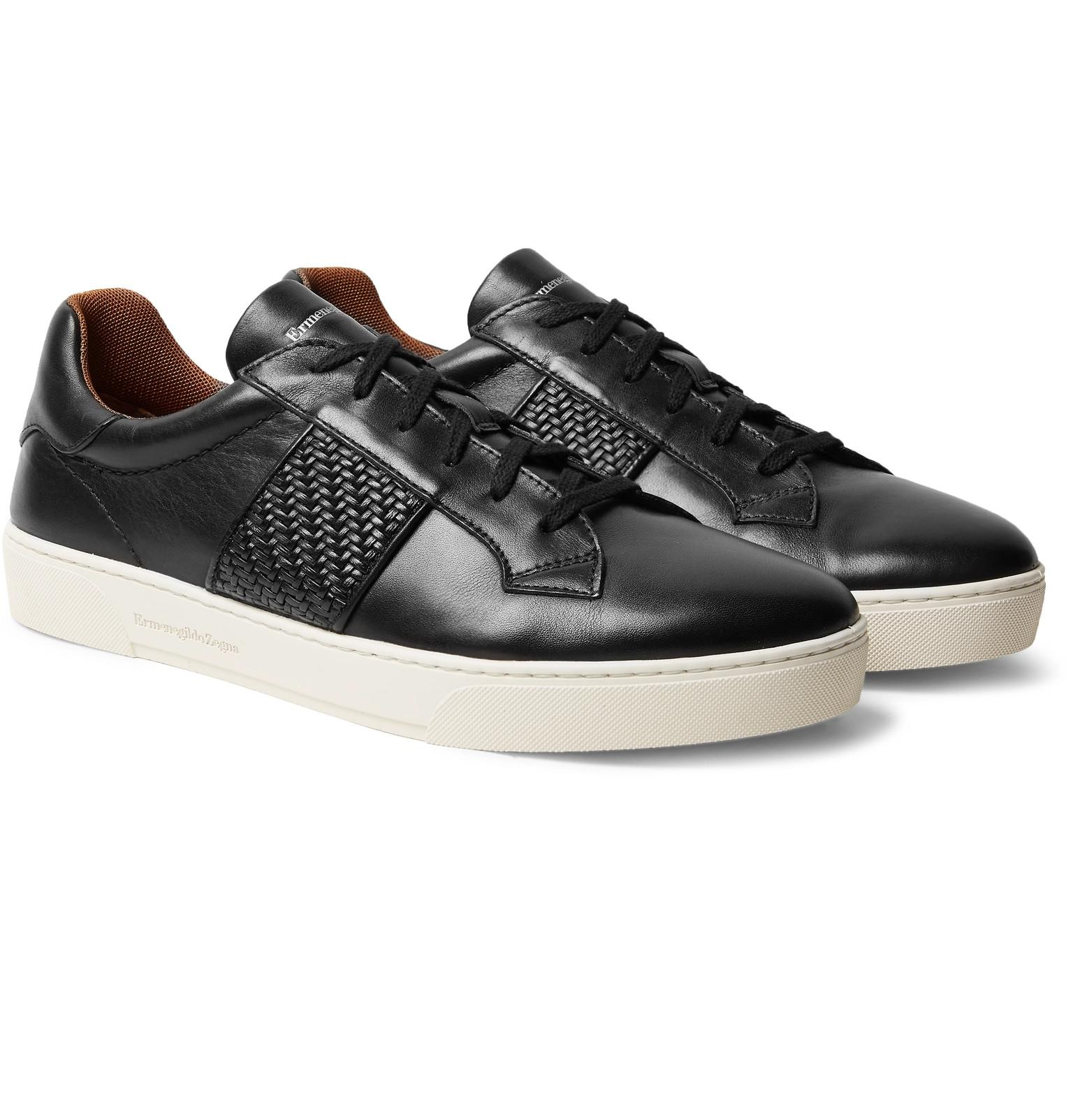 Pelle Tessuta-panelled Leather Sneakers Ermenegildo Zegna