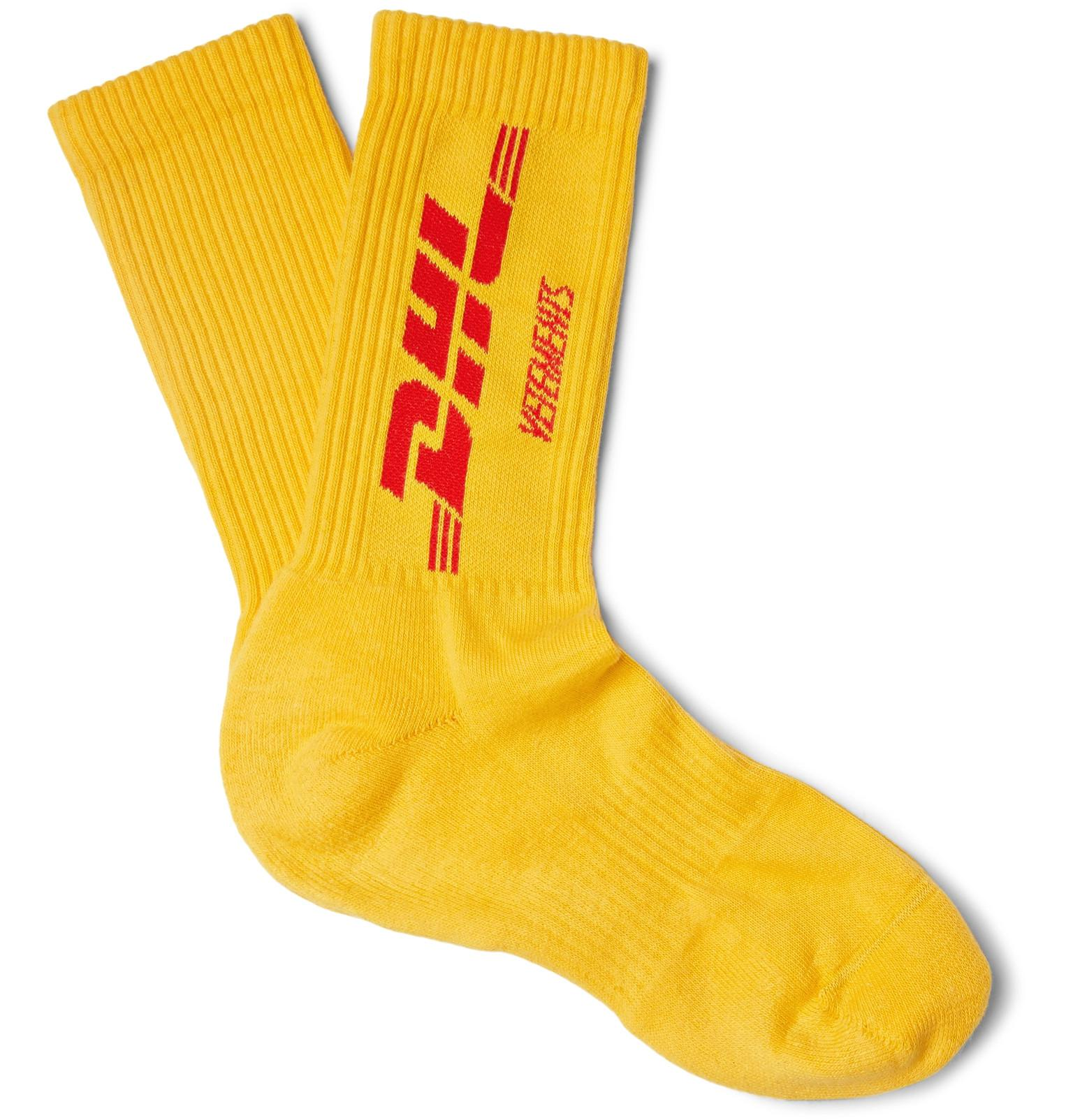 Release Dates x DHL Socks in Yellow VETEMENTS Many Kinds Of Sale Online Cheap Sale New Styles Sale Pay With Visa Clearance Low Cost ozKPnHVl2I