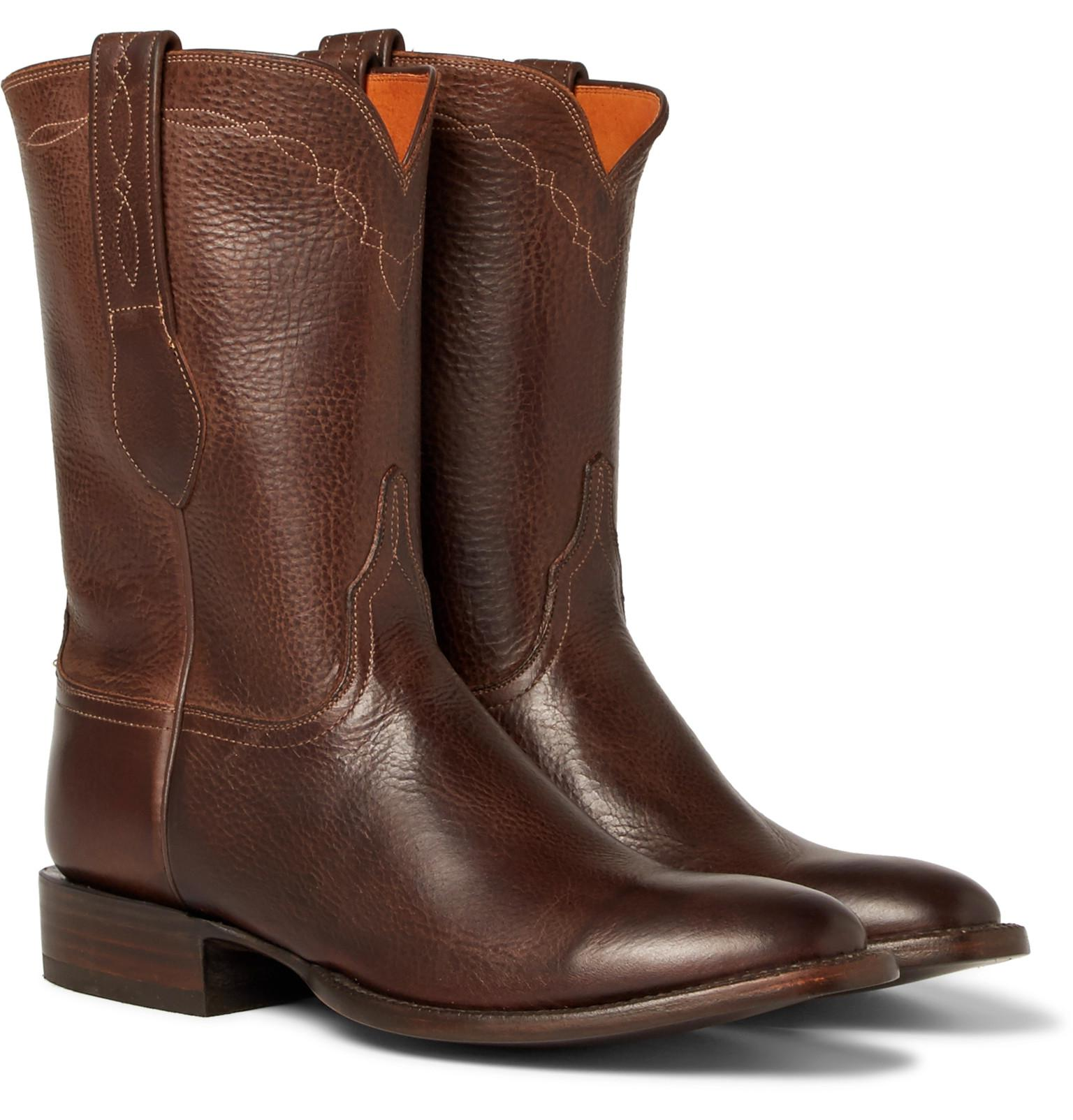 + Luchesse Statesman Embroidered Burnished-leather Boots - BrownKingsman qdUNBl4g