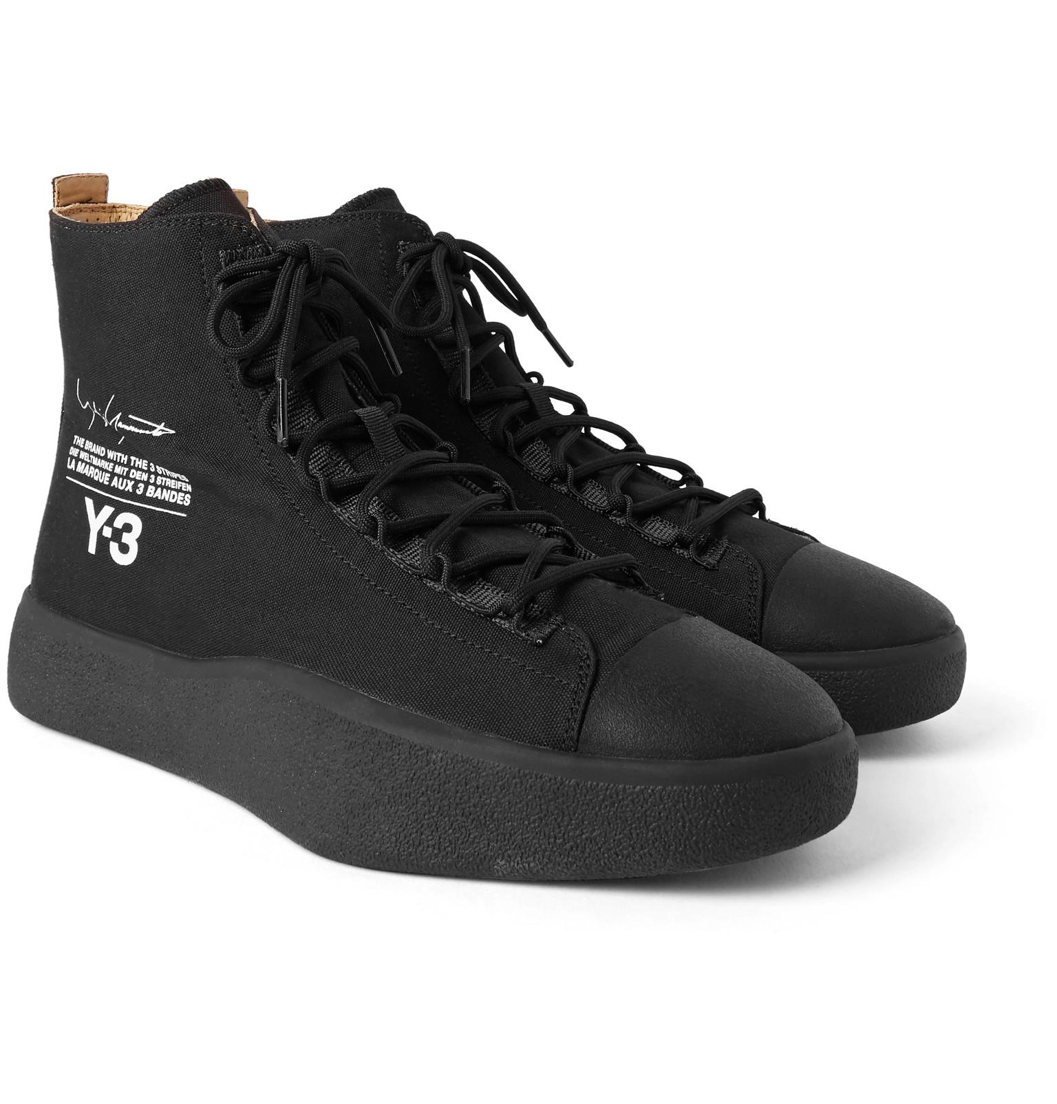a83d8783d Y-3 Bashyo Printed Canvas High-top Sneakers in Black for Men - Lyst