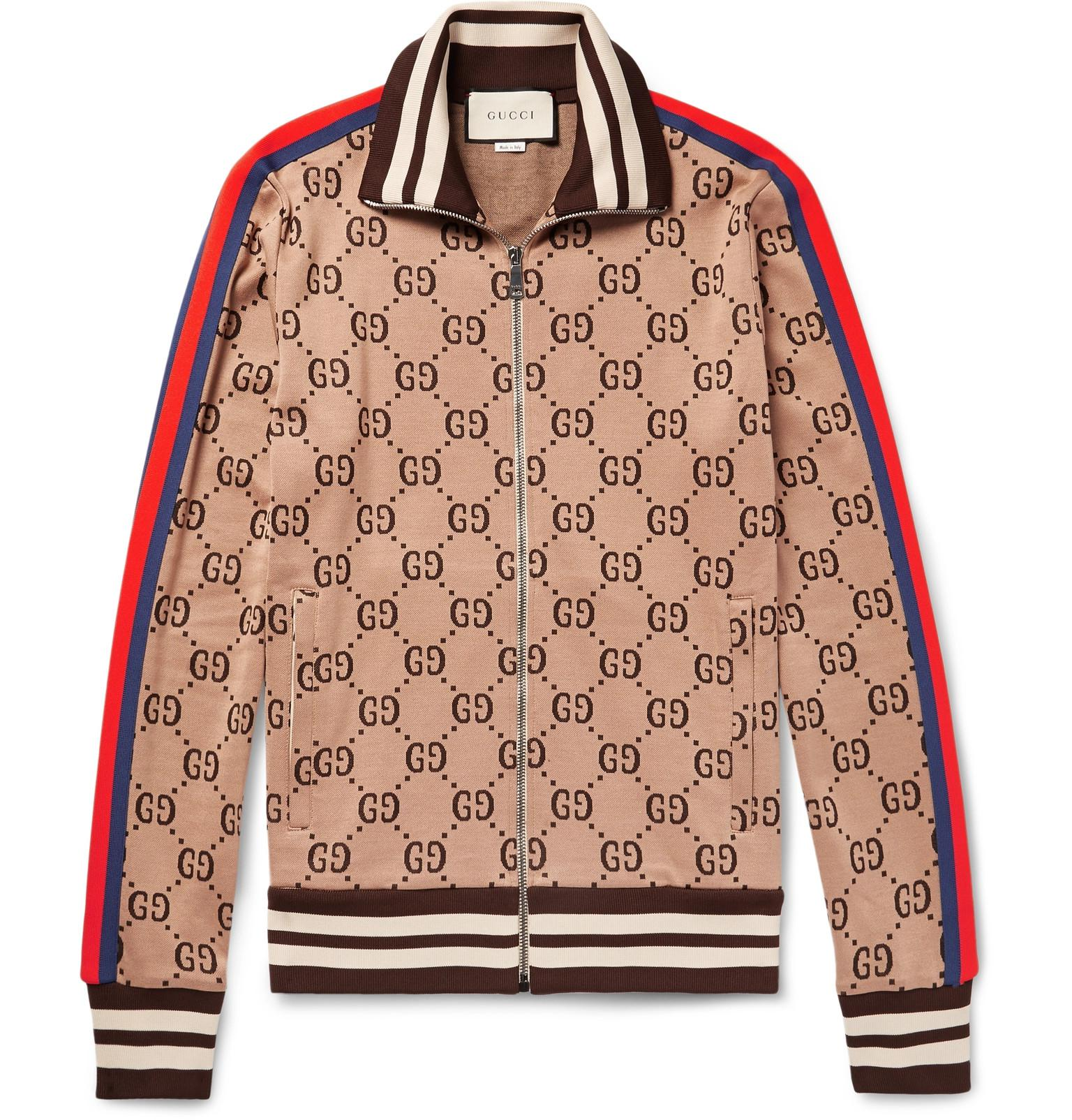 afea00219 Gucci Slim-fit Webbing-trimmed Cotton-jacquard Track Jacket in Brown ...
