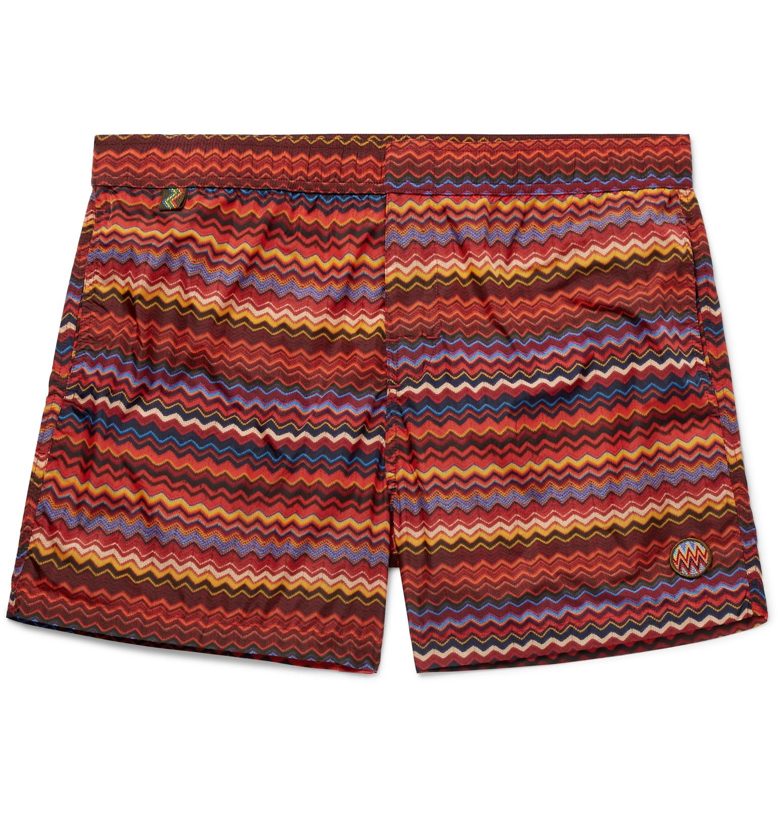 e0368e57310371 Missoni Mid-length Printed Swim Shorts in Red for Men - Lyst