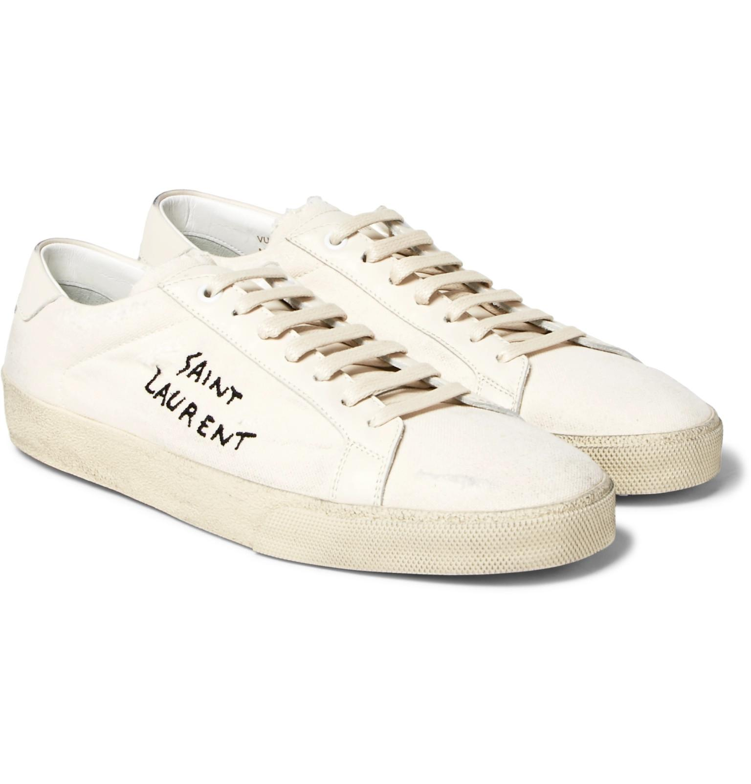 White Distressed Jersey Sneakers Saint Laurent E0EJW