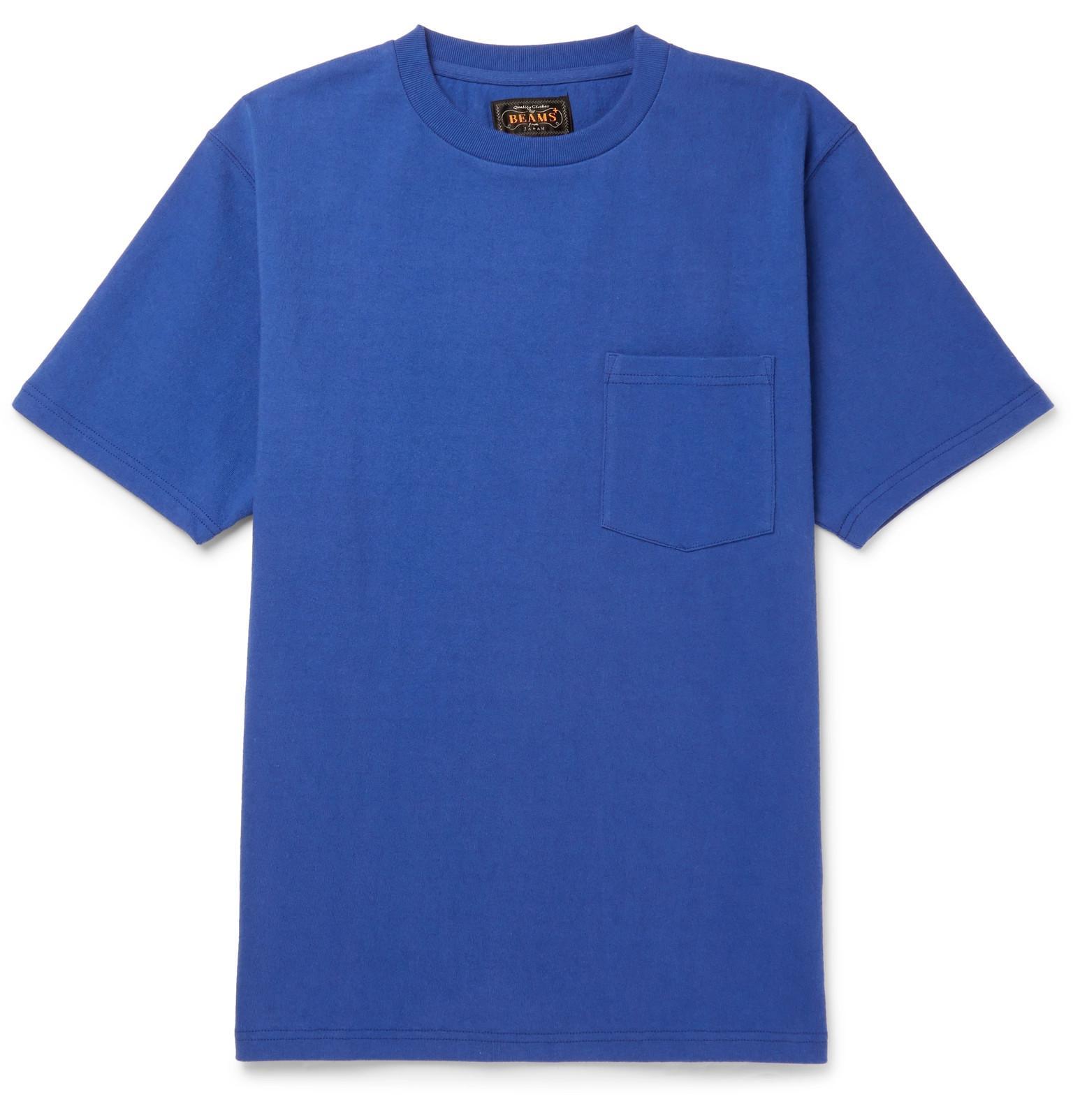 Beams Cotton-jersey T-shirt - Royal blue DsUY1A