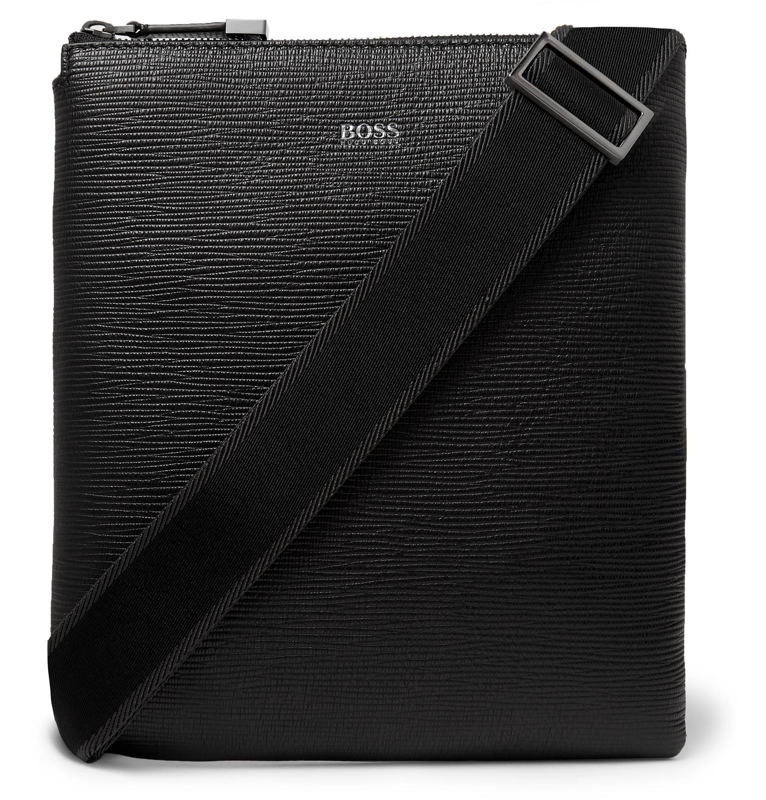 08320a199f BOSS Cross-grain Leather Messenger Bag in Black for Men - Lyst
