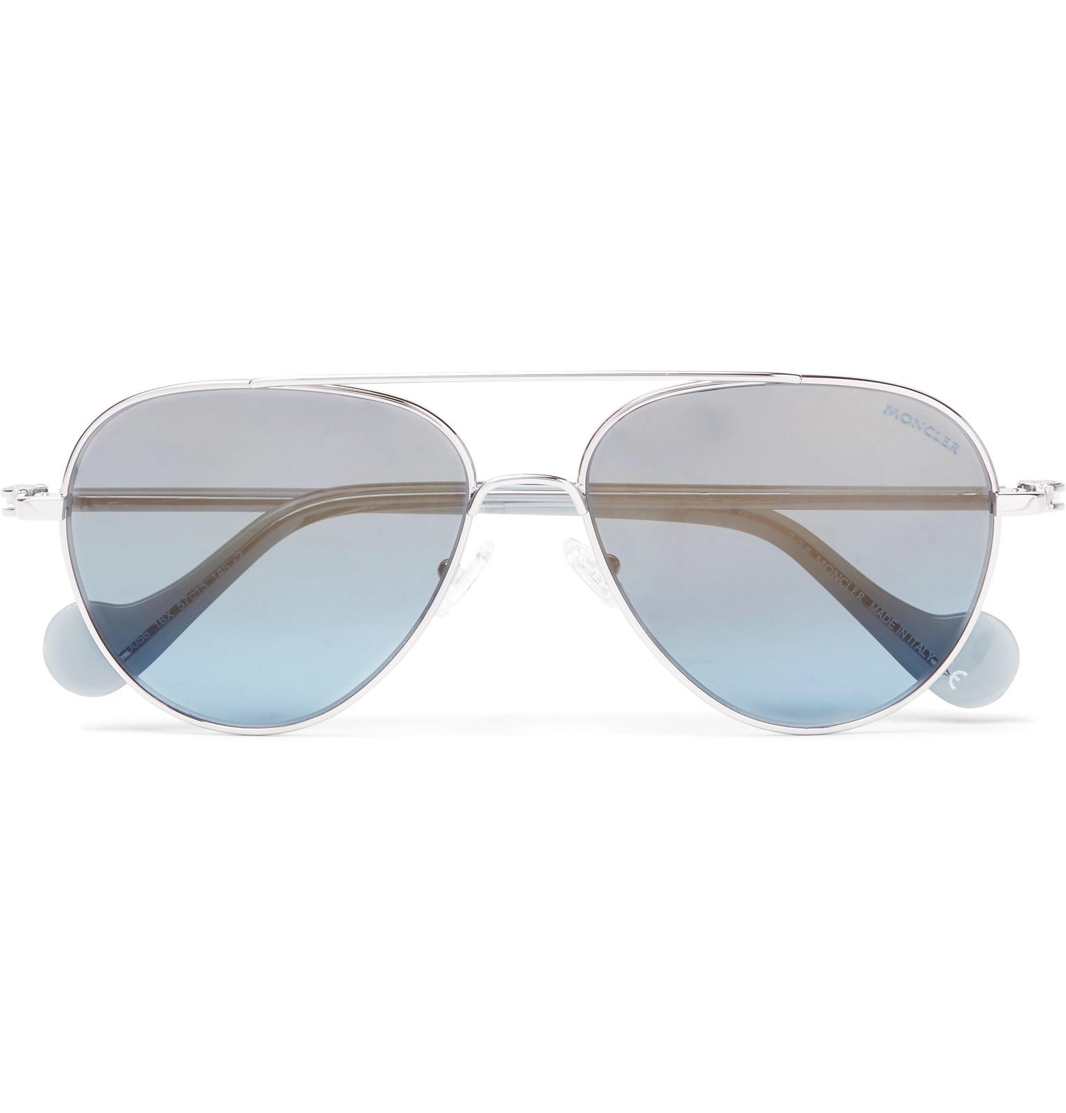 d0ea7a1a0d5f8 Moncler Aviator-style Palladium-plated Sunglasses in Blue for Men - Lyst