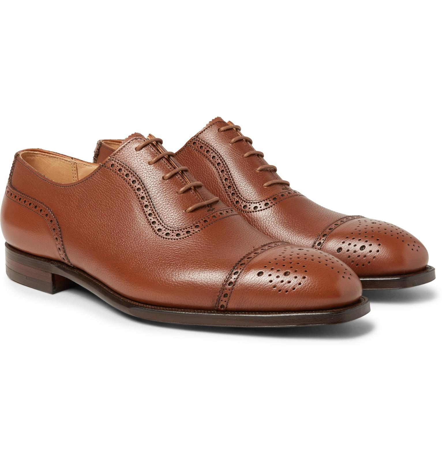 Henry Pebble-grain Leather Wingtip Brogues - Dark brownGeorge Cleverley