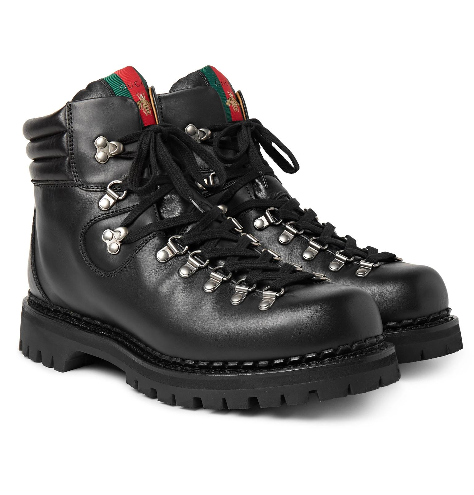 6dfbf0115eb86 Lyst - Gucci Tracker Leather Boots in Black for Men