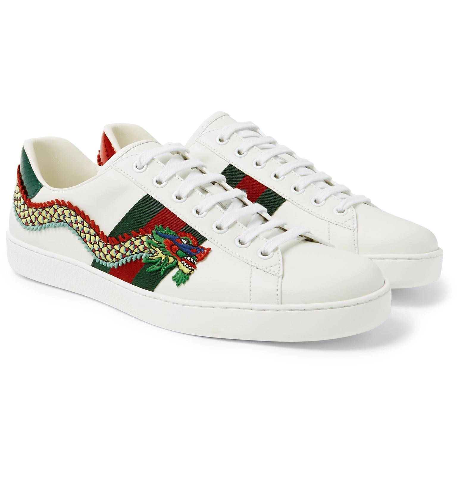 d6d28a9ac Gucci Ace Appliquéd Watersnake And Leather Sneakers in White for Men ...
