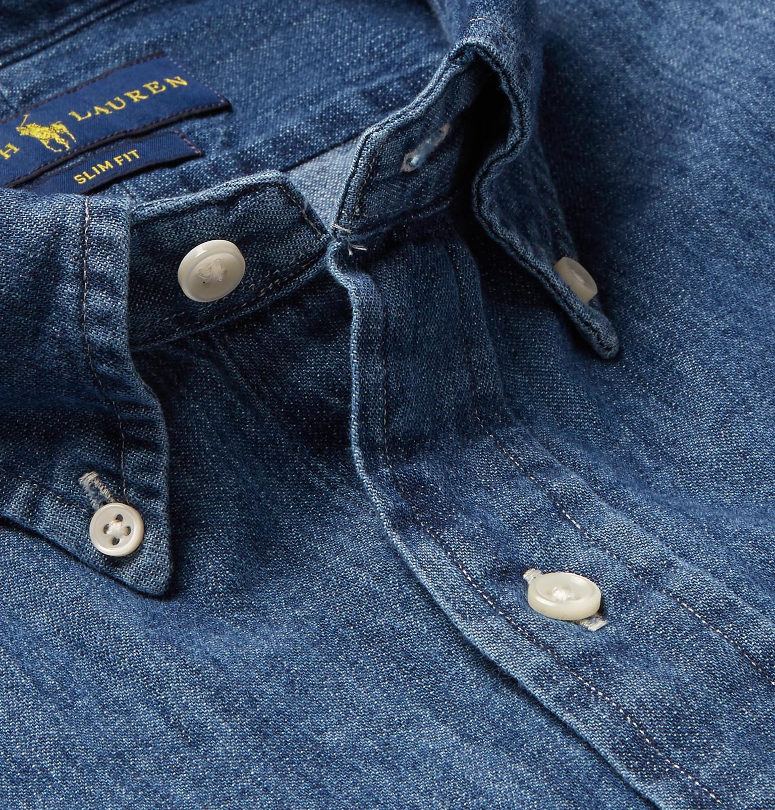 71187bf008 Polo Ralph Lauren - Blue Slim-fit Button-down Collar Washed-denim Shirt.  View fullscreen
