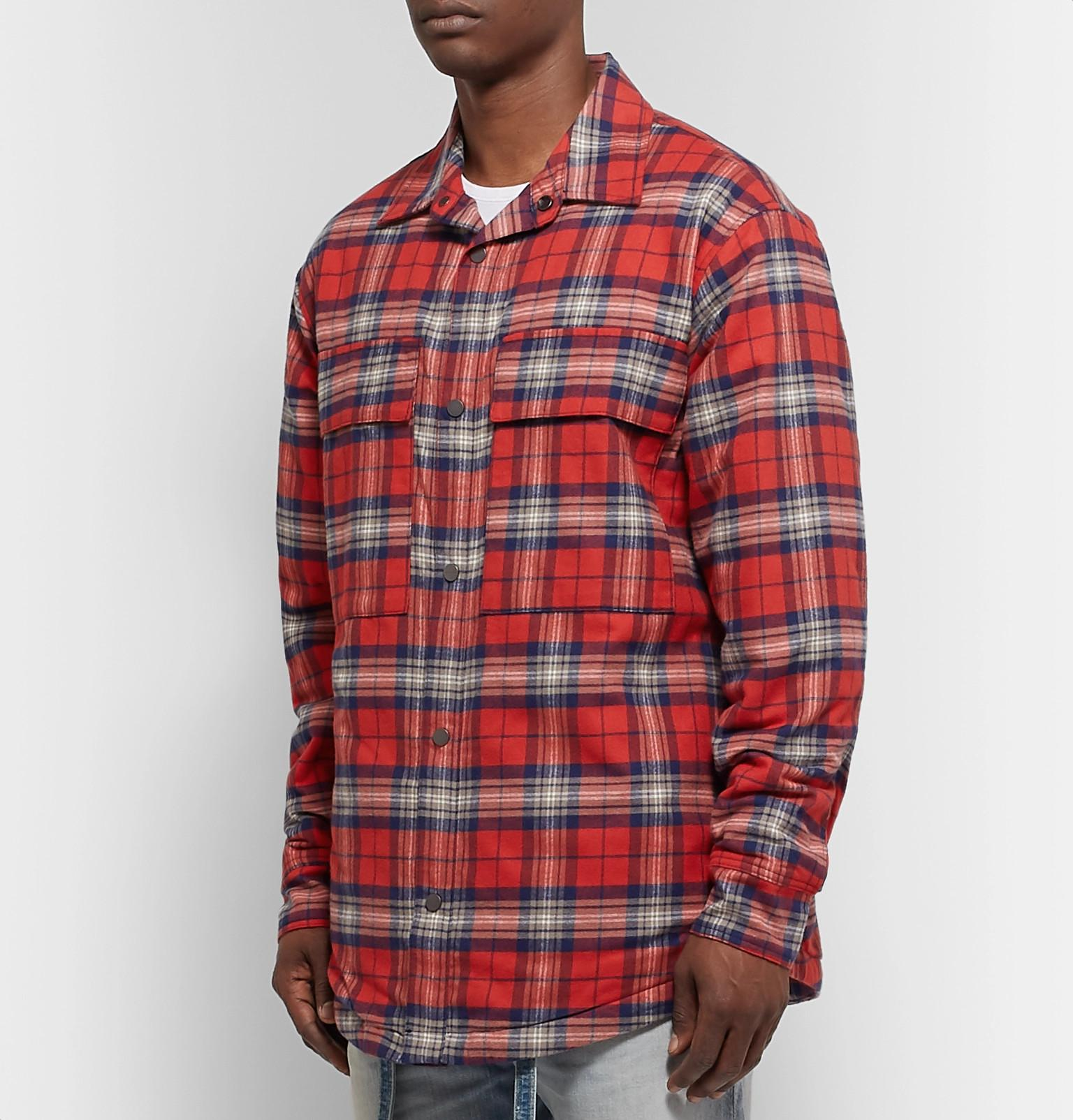 f2cab4d22e Fear Of God - Red Checked Cotton-flannel Overshirt for Men - Lyst. View  fullscreen