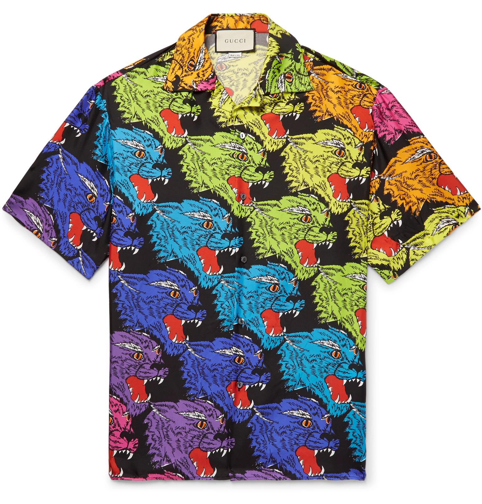 5e0f3c5fe Gucci Camp-collar Printed Silk-twill Shirt for Men - Lyst