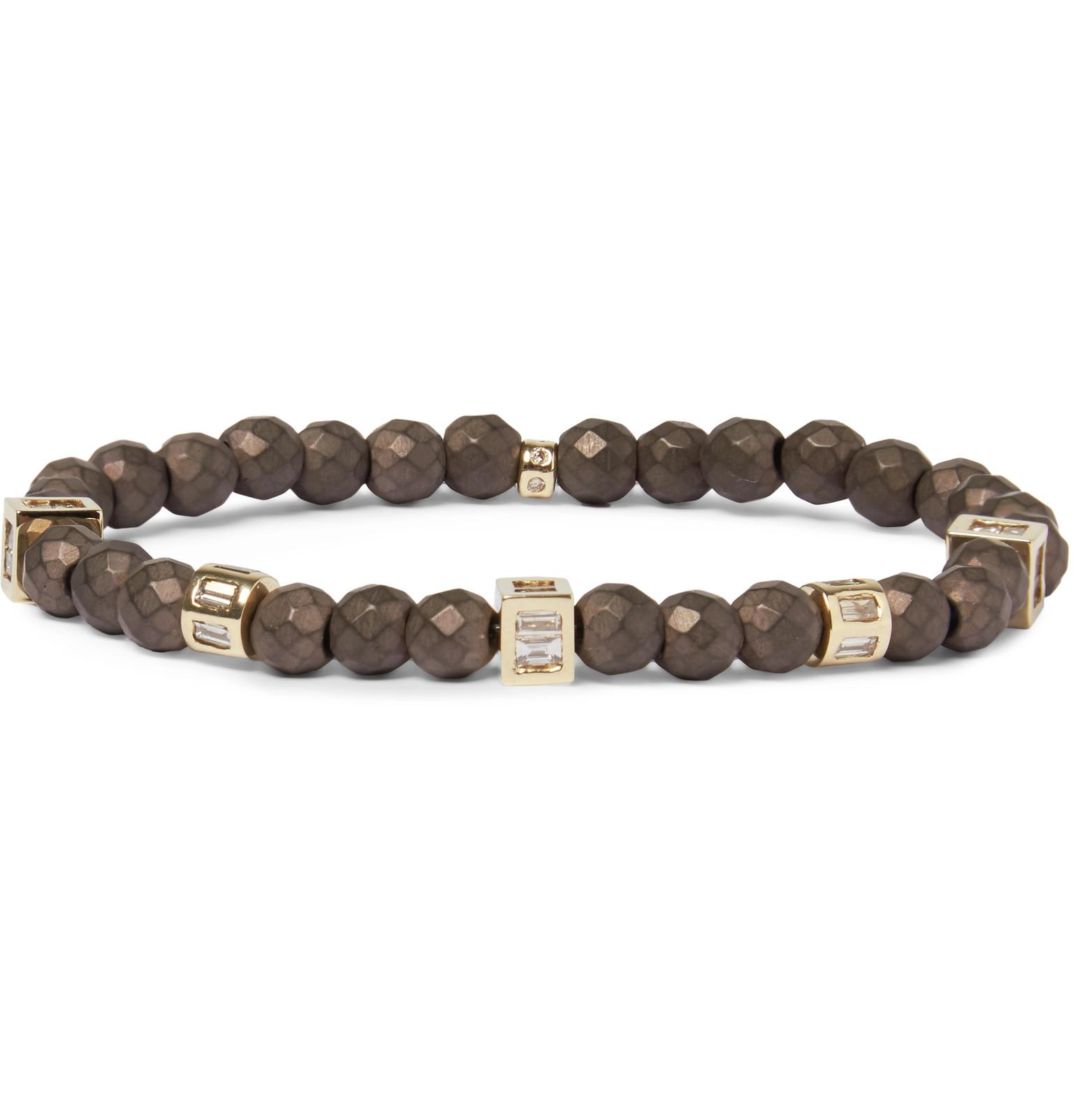 Luis Morais Beaded Wood, 14-karat Gold And Diamond Bracelet - Black