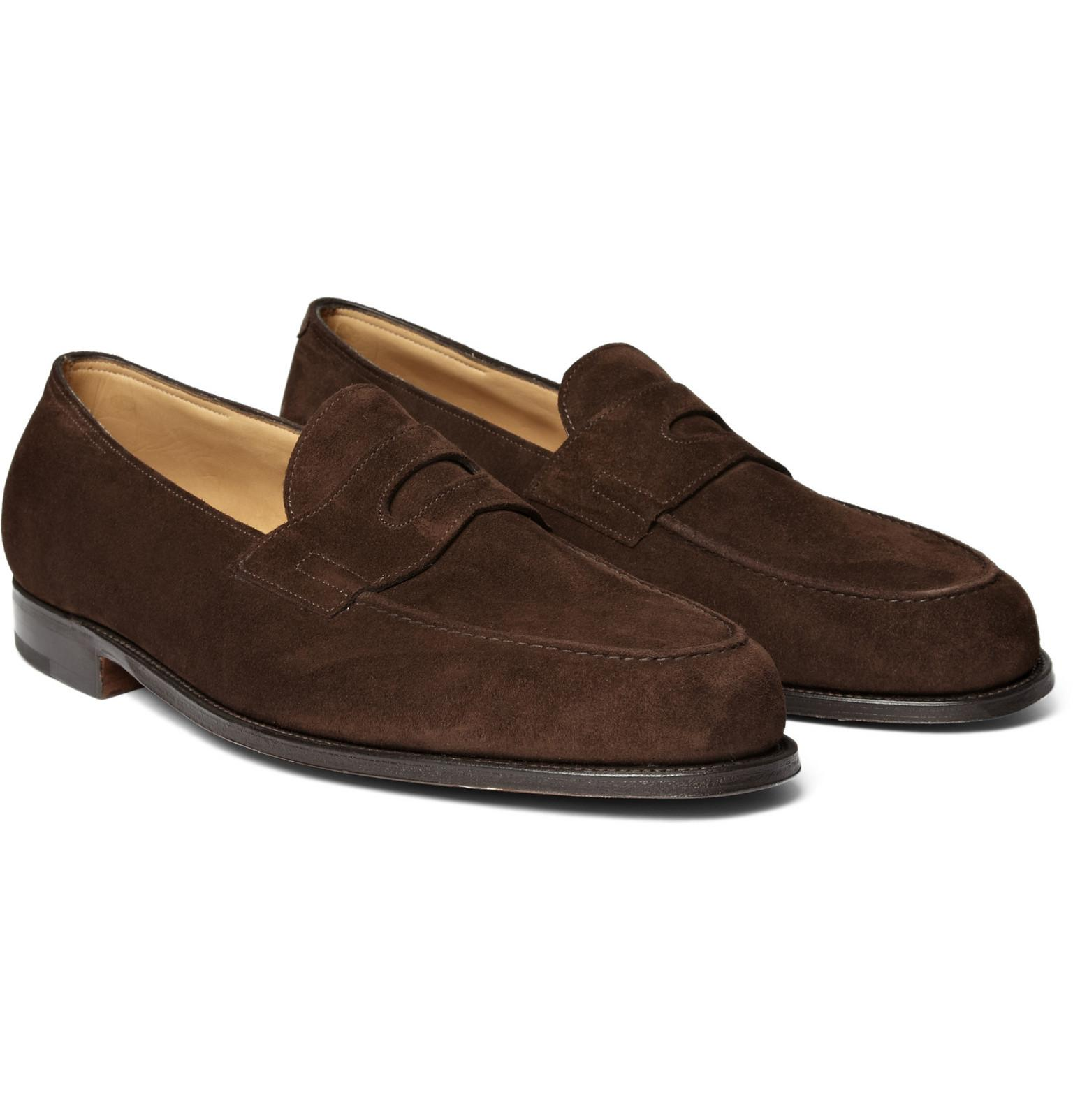 a78f140ab44 John Lobb Lopez Suede Penny Loafers in Brown for Men - Lyst