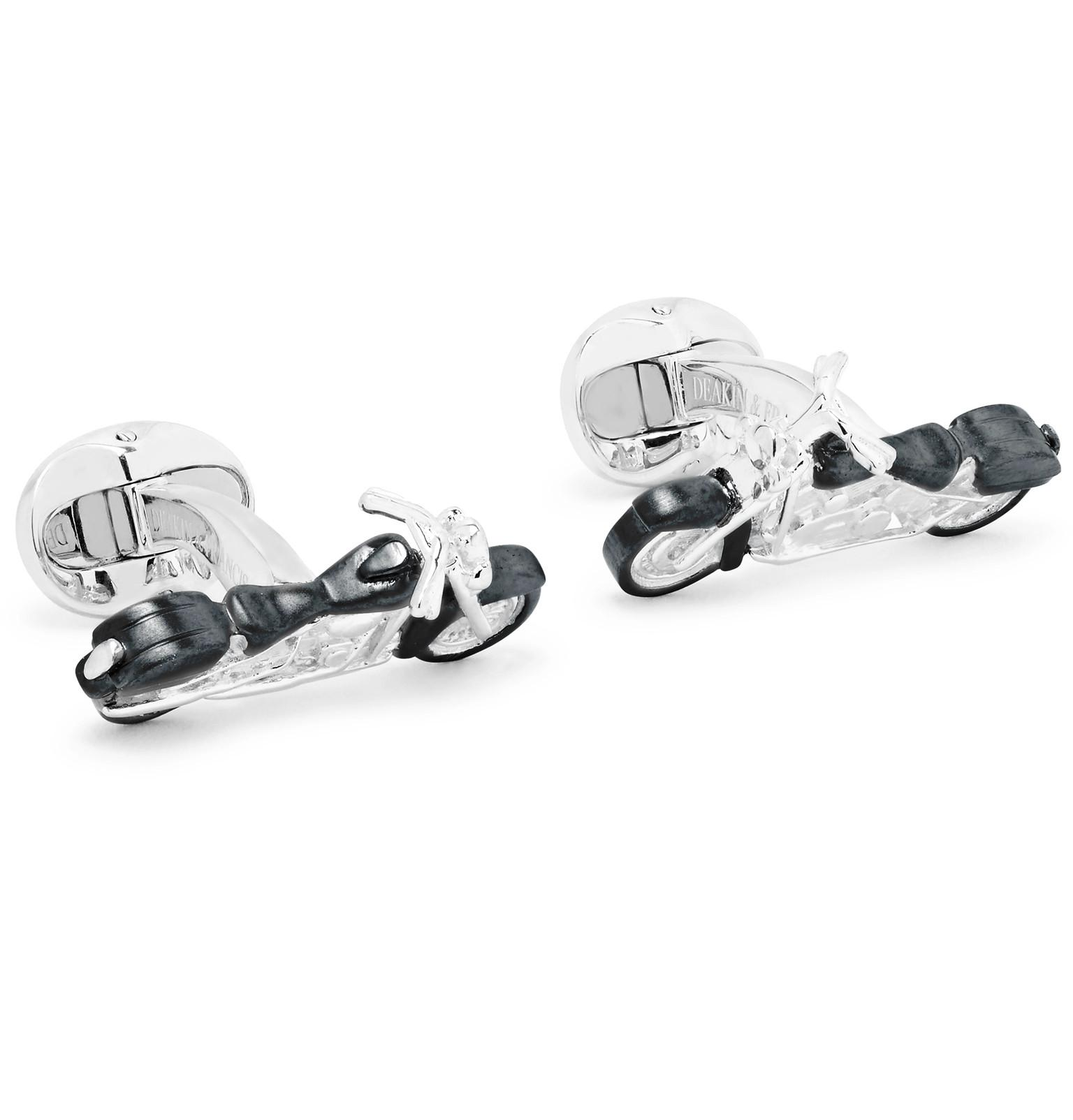 Deakin & Francis Roulette Wheel Enamelled Sterling Silver Cufflinks - Silver FqWC4Nqm2