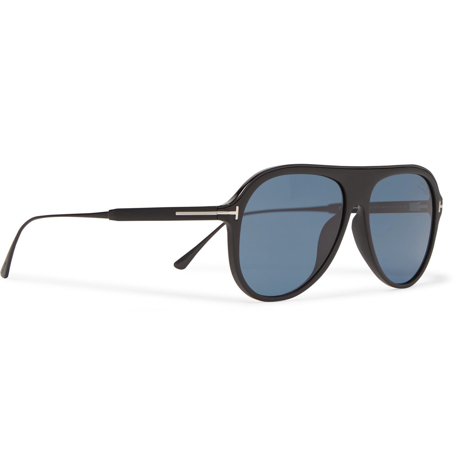 8b8e4eeb34a Tom Ford - Black Nicholai Aviator-style Acetate Polarised Sunglasses for Men  - Lyst. View fullscreen
