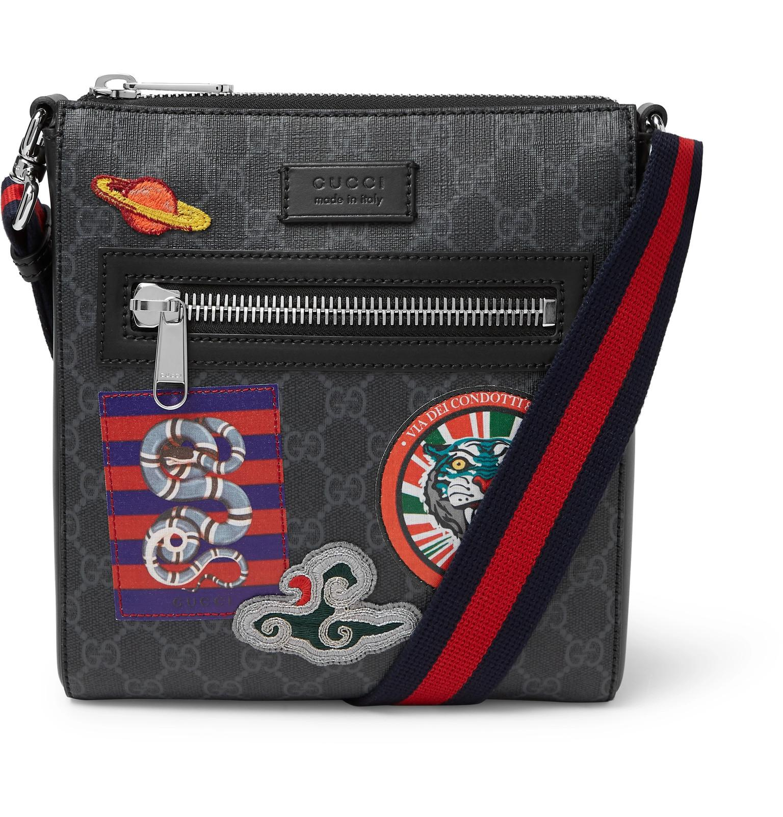 b6c454121b85 Gucci - Black Night Courrier Leather-trimmed Appliquéd Monogrammed Coated- canvas Messenger Bag for. View fullscreen