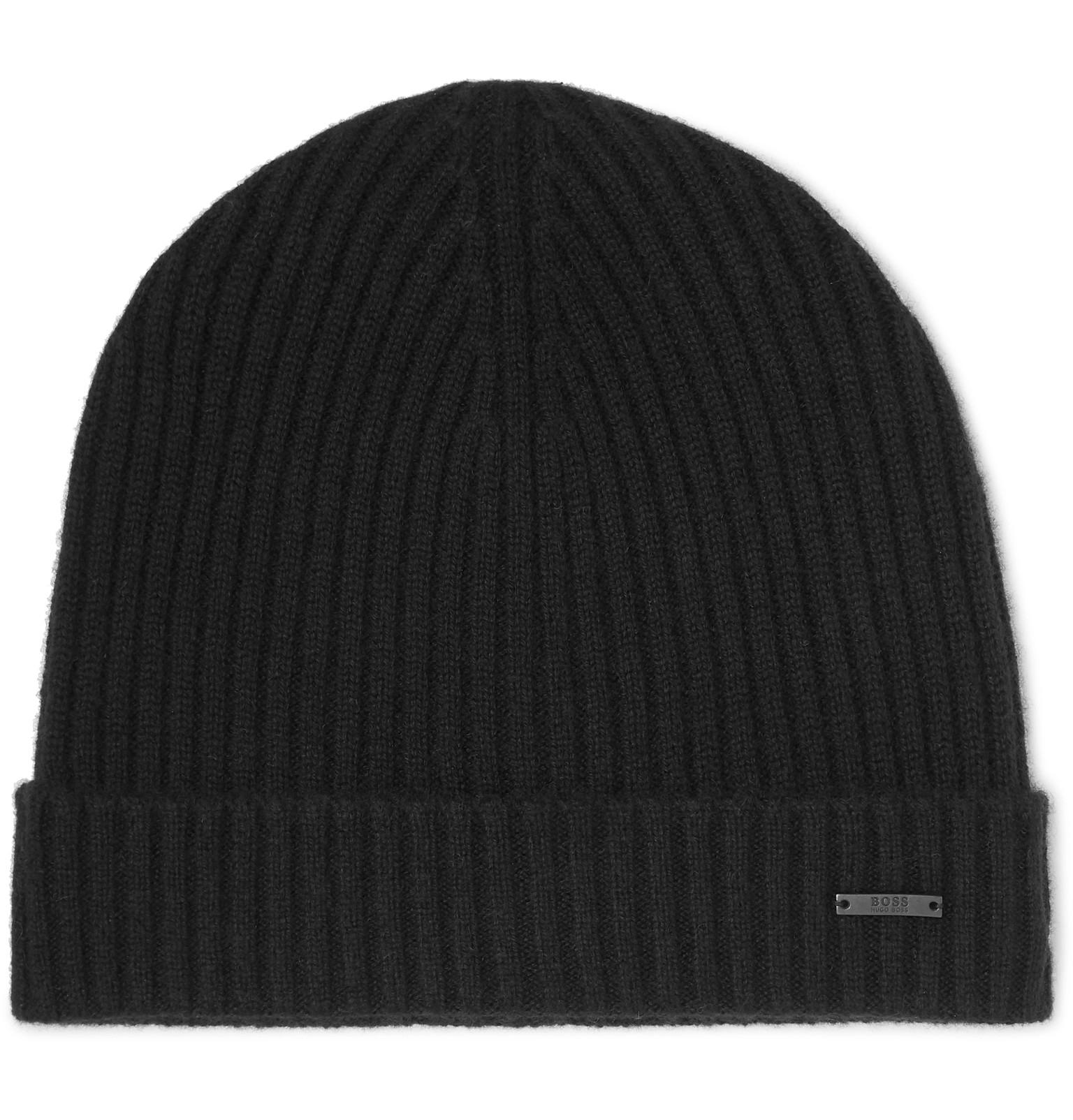 BOSS - Black Ribbed Cashmere Beanie And Scarf Set for Men - Lyst. View  fullscreen ec33936f7ed9