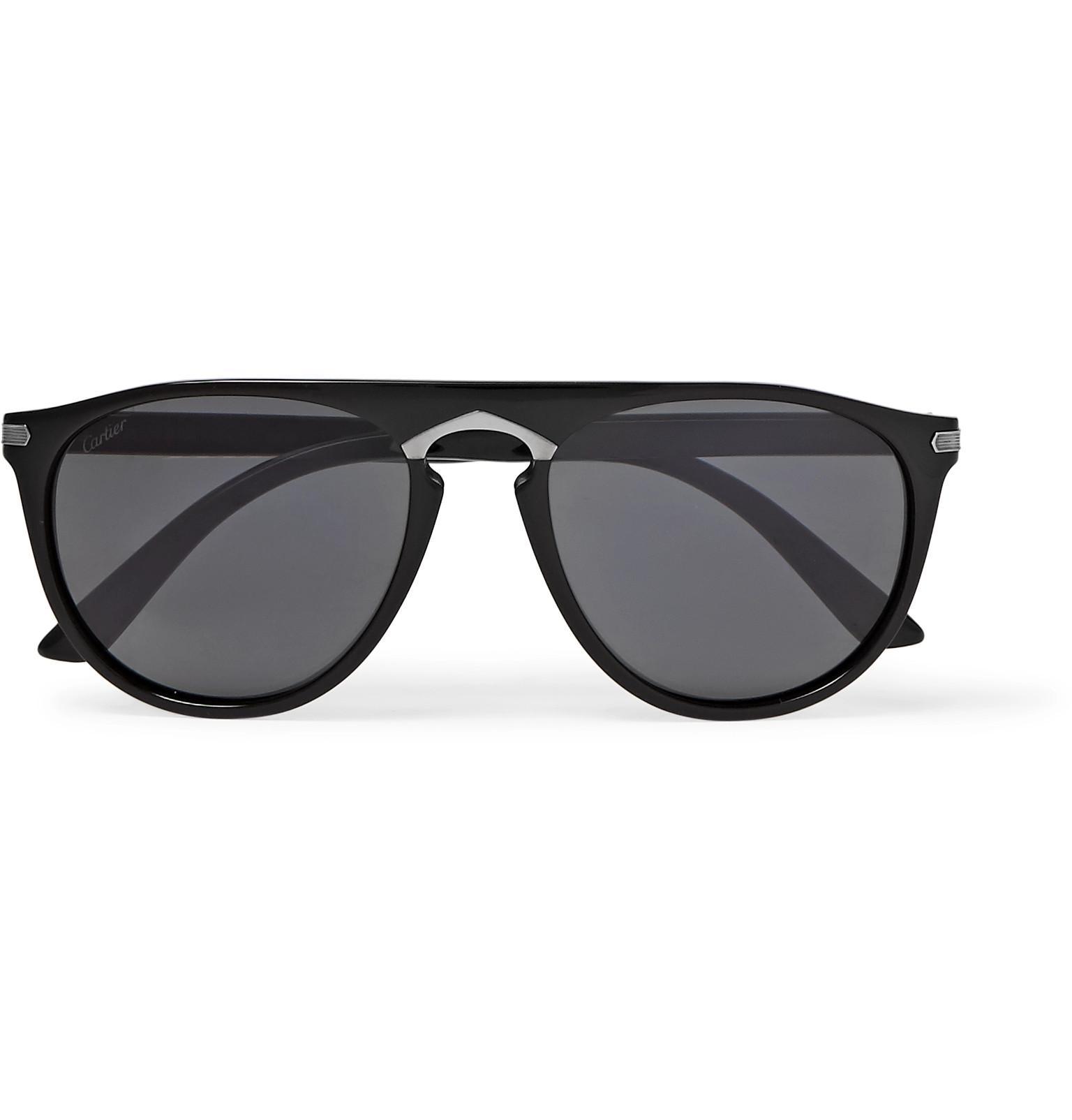 cc73df0225 Cartier. Men s - Signature C De Round-frame Acetate Sunglasses - Black