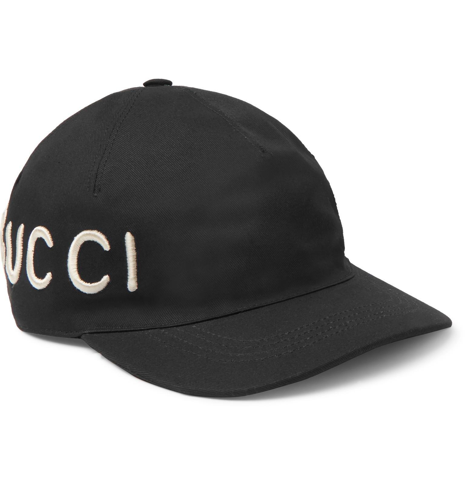 99eccb5e79e Lyst - Gucci Embroidered Cotton-twill Baseball Cap in Black for Men