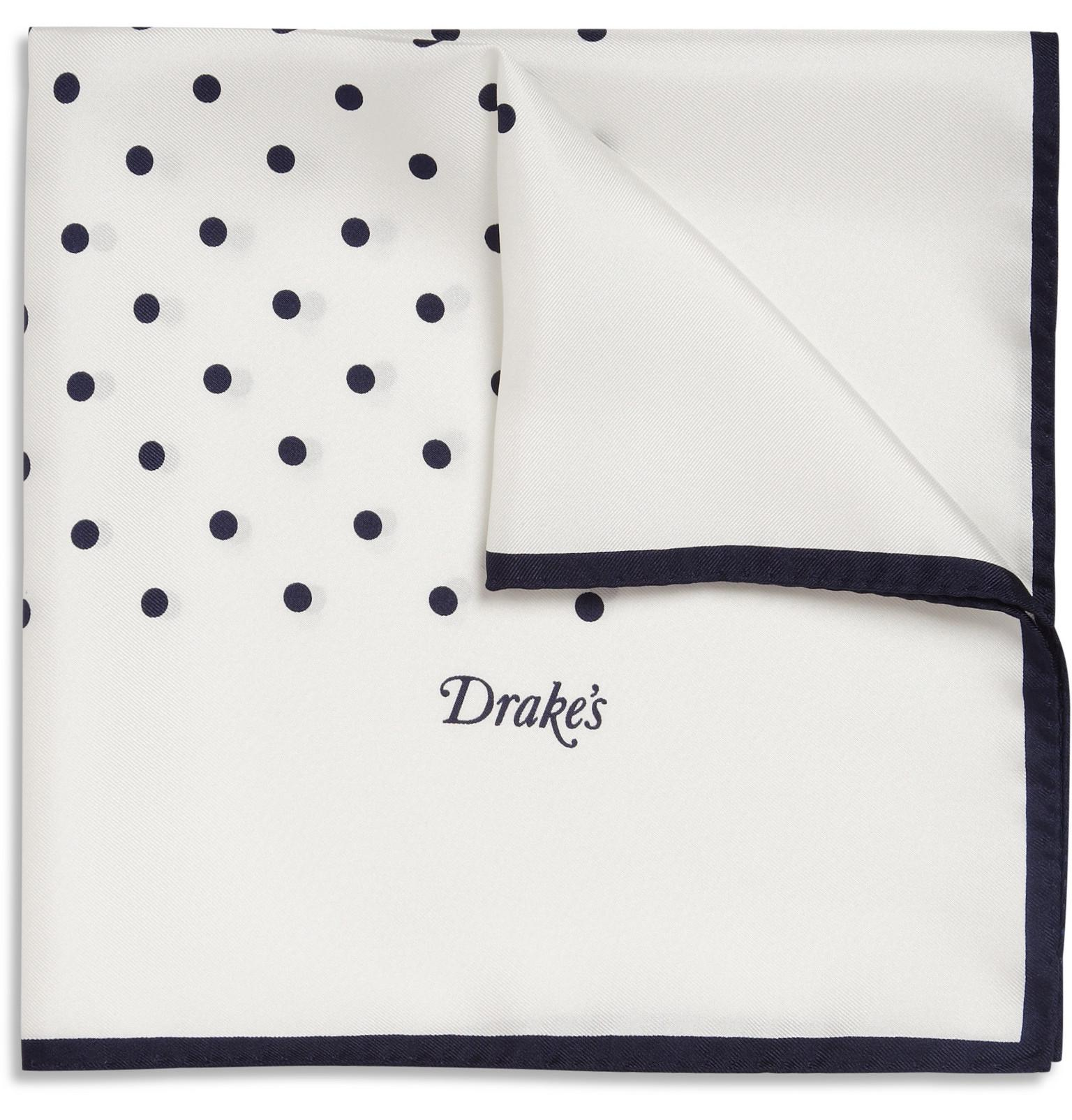 Navy and White Spotted Silk Pocket Handkerchief Drake's XFdPG